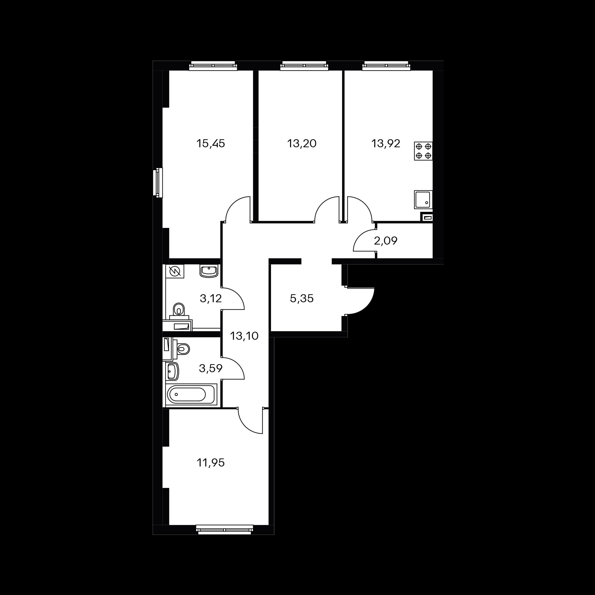 3-комнатная 81.77 м²