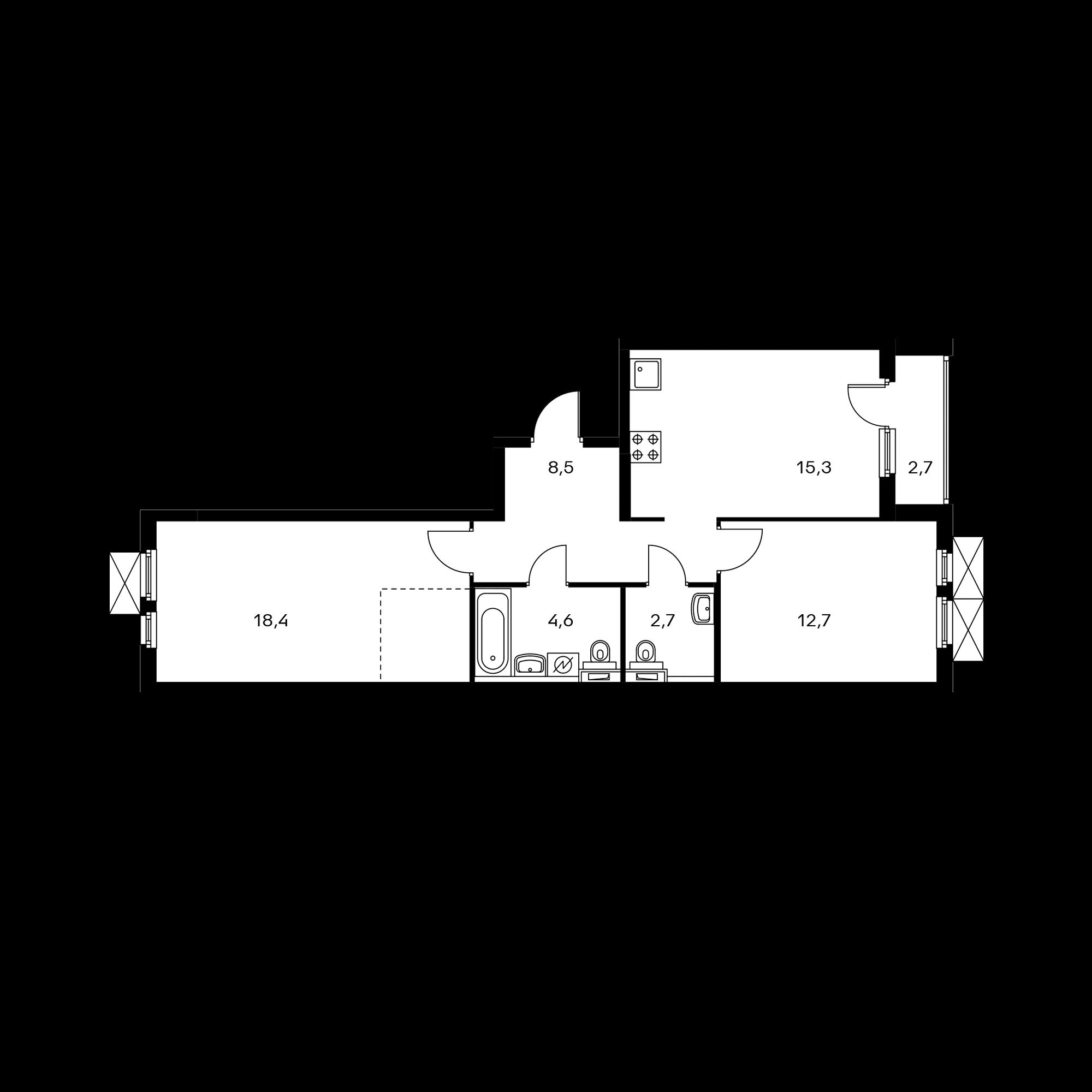 2-комнатная 63.5  м²