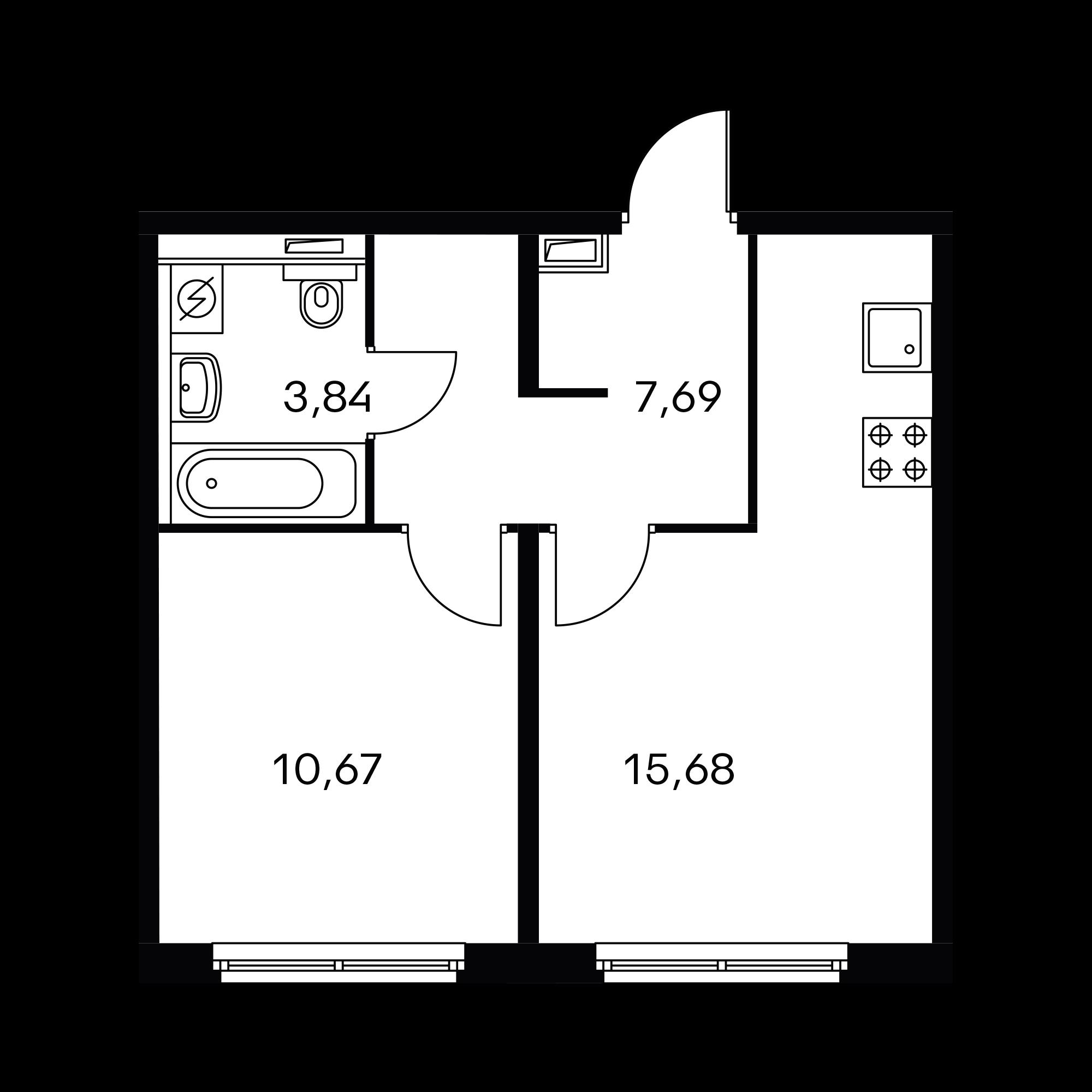 1-комнатная 37.88  м²