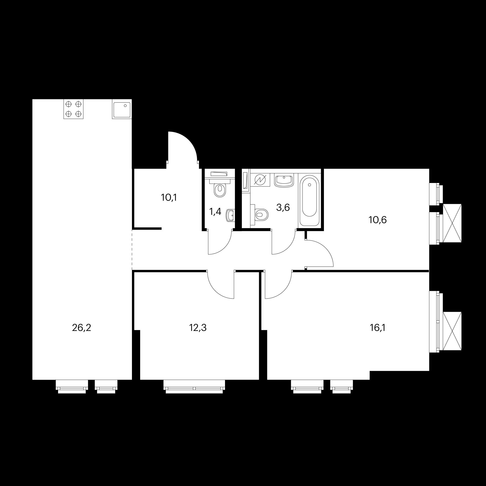 3-комнатная 80.3  м²