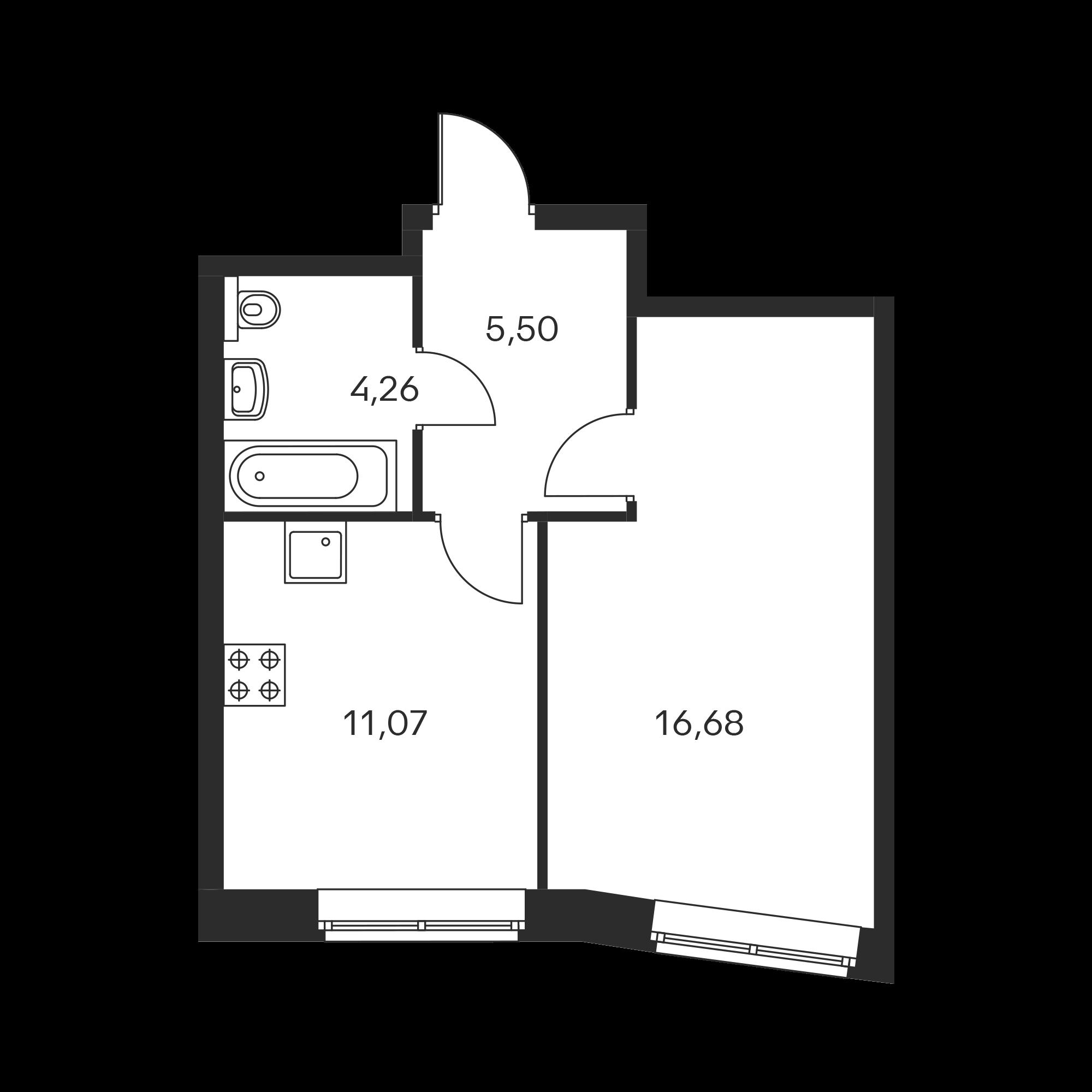 1-комнатная 37.51 м²