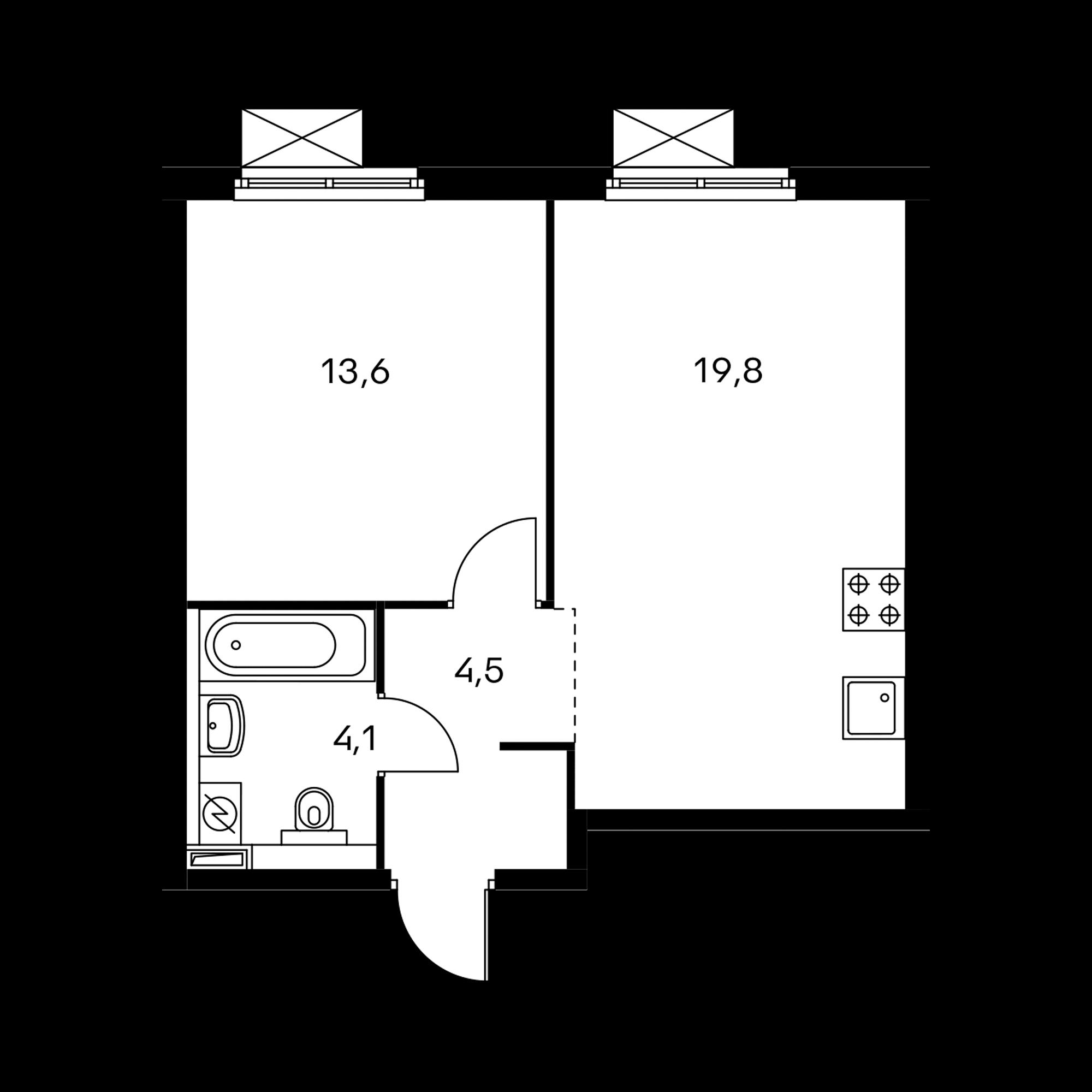 1-комнатная 41.8 м²
