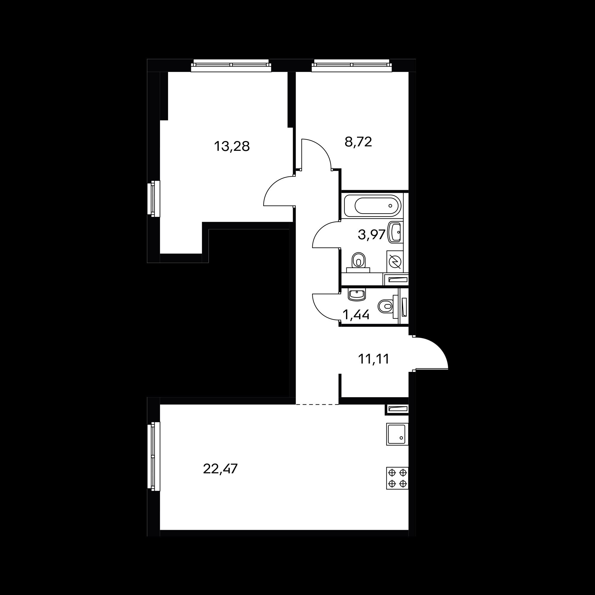 2-комнатная 60.89 м²