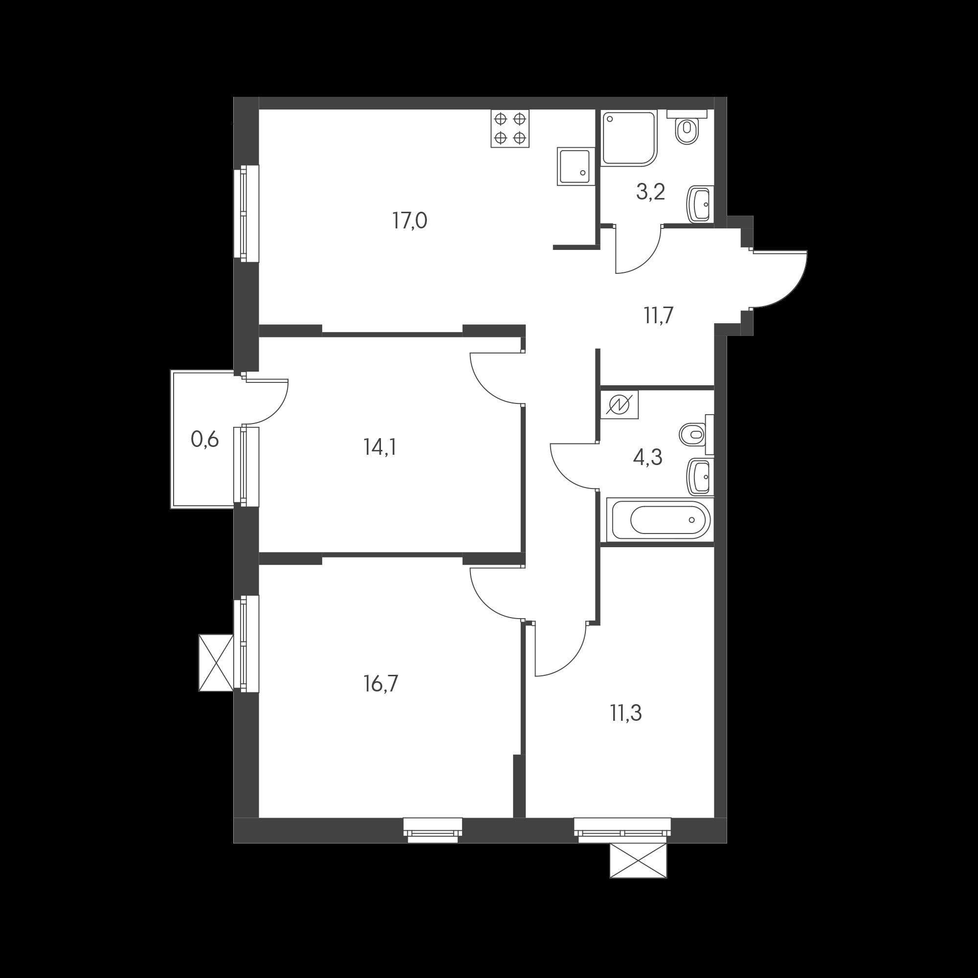 3-комнатная 77.1  м²