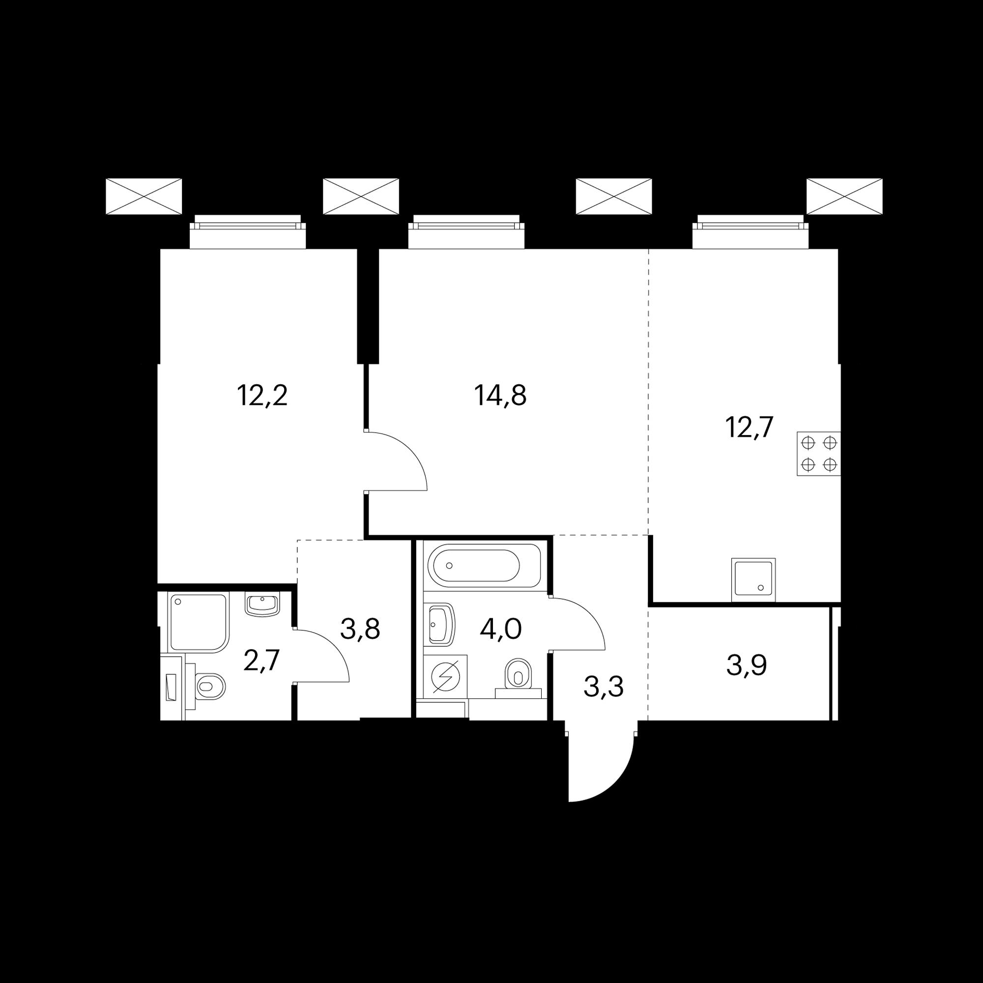 2-комнатные 57.4 м²
