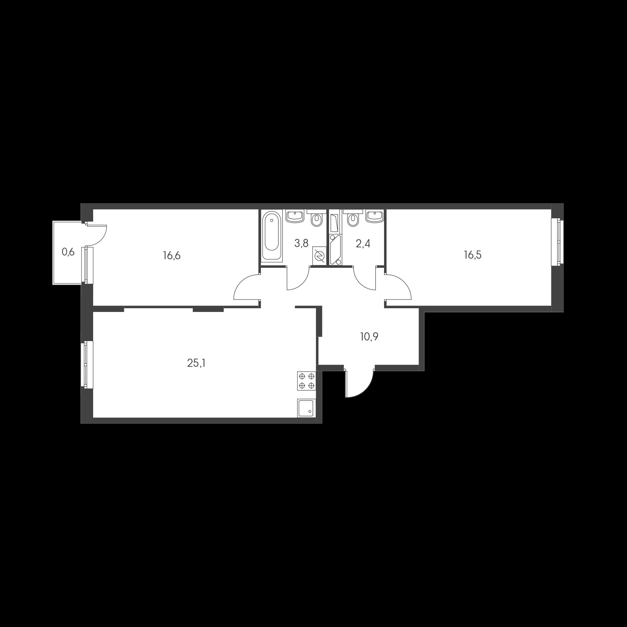 2-комнатная 74.3 м²