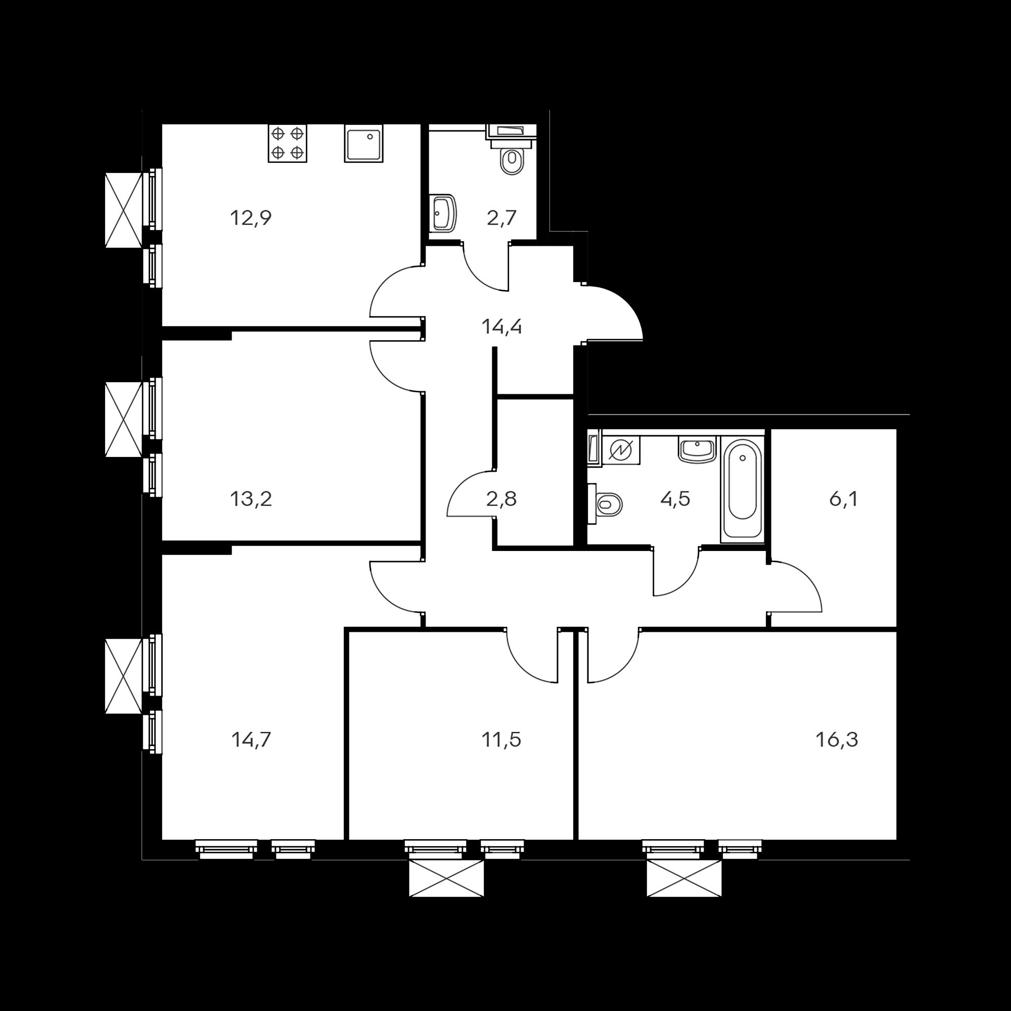 4-комнатная 99.1  м²