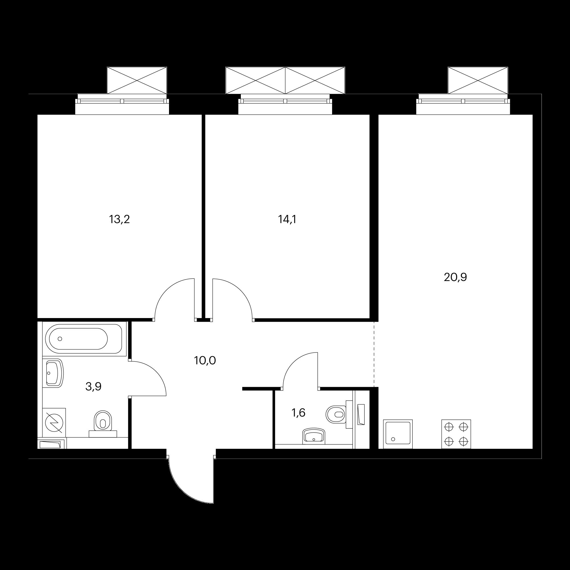 2-комнатная 63.7 м²