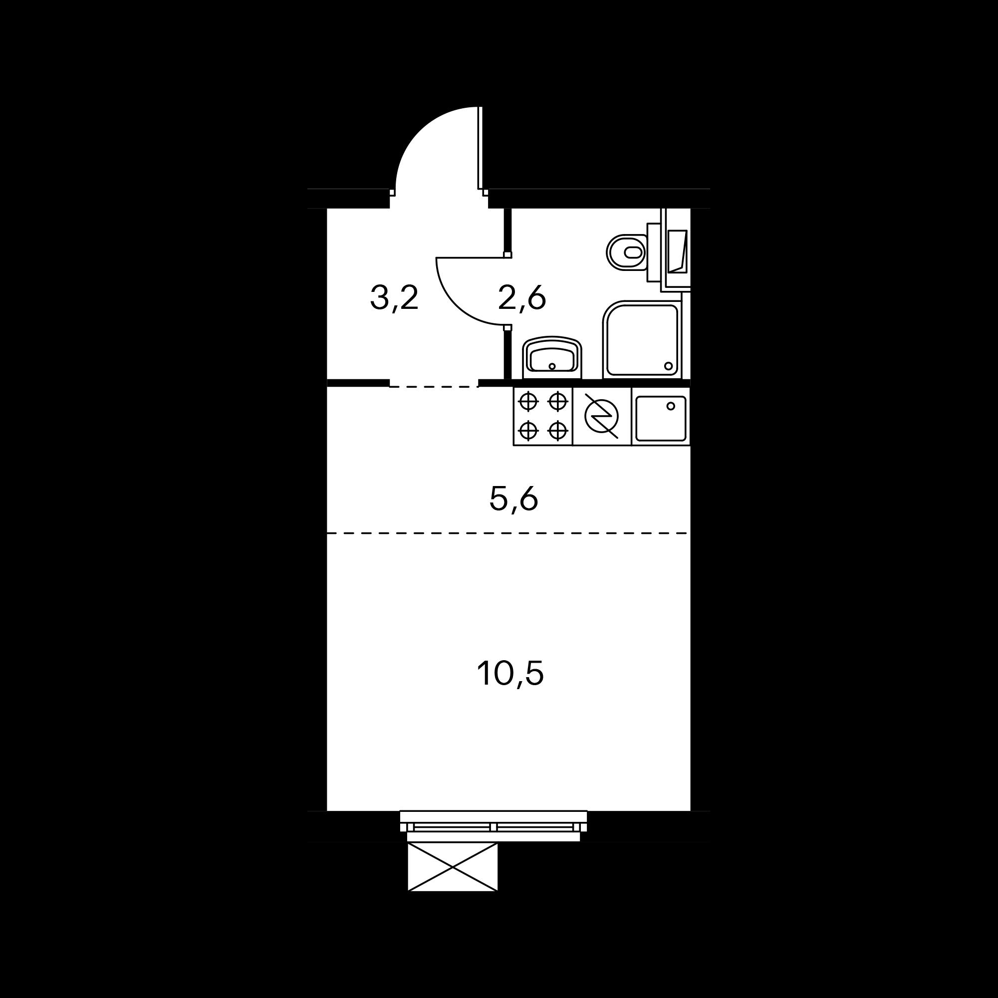 Студия 21.8  м²