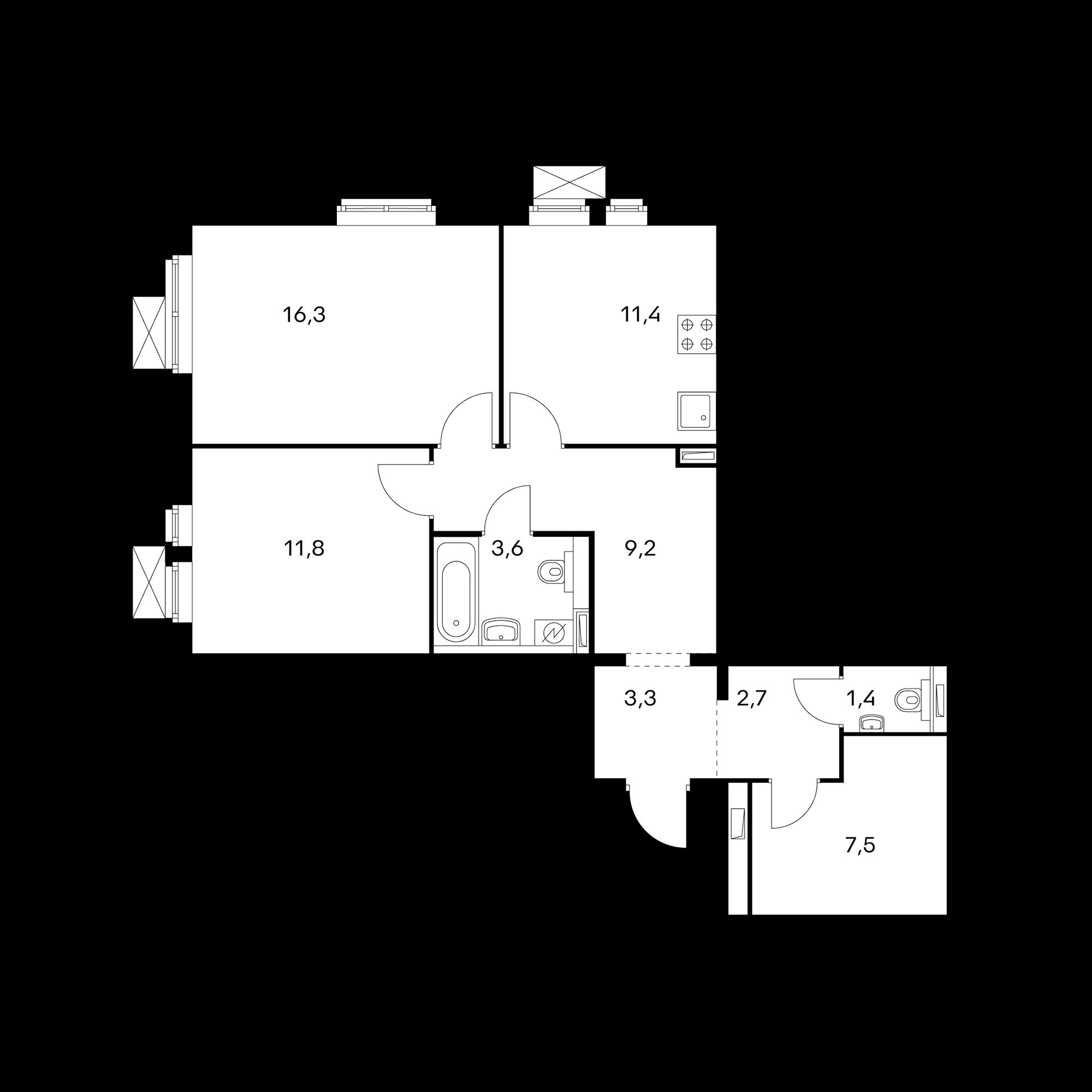 2-комнатная 68.3 м²