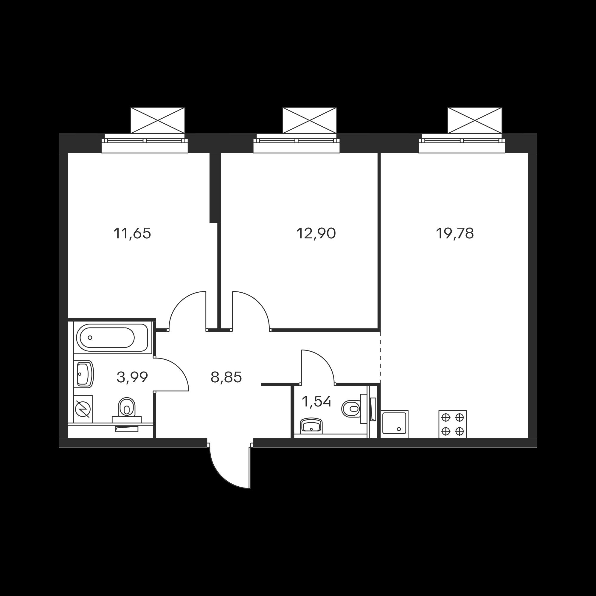 2-комнатная 58.67 м²