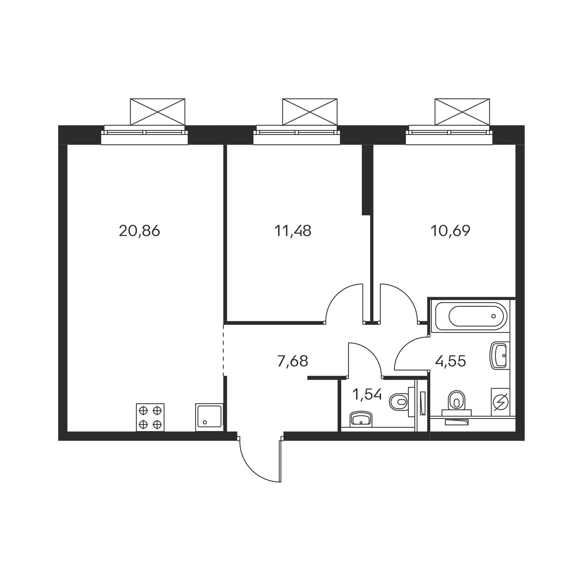 2-комнатная 56.73 м²