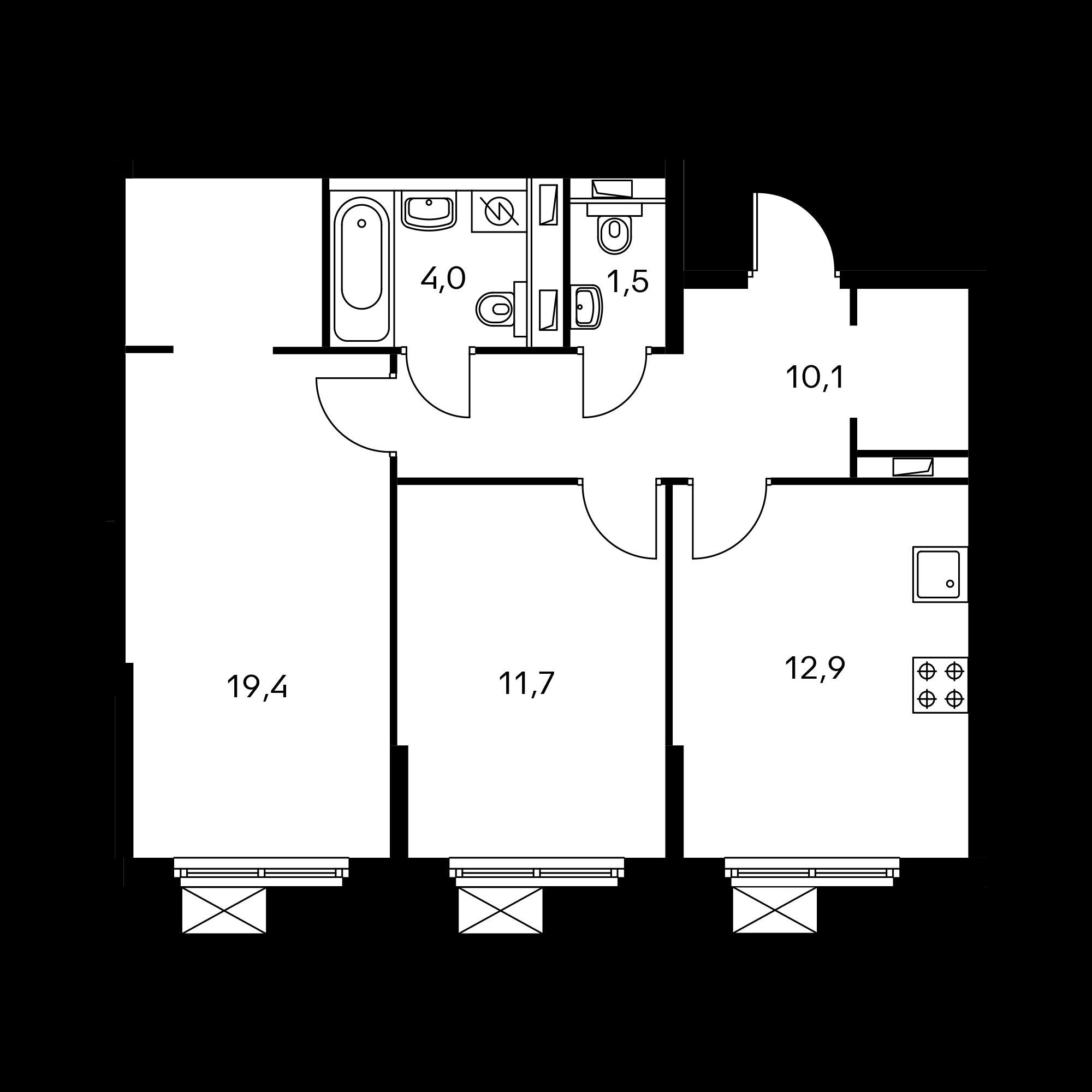 2-комнатная 59.5  м²