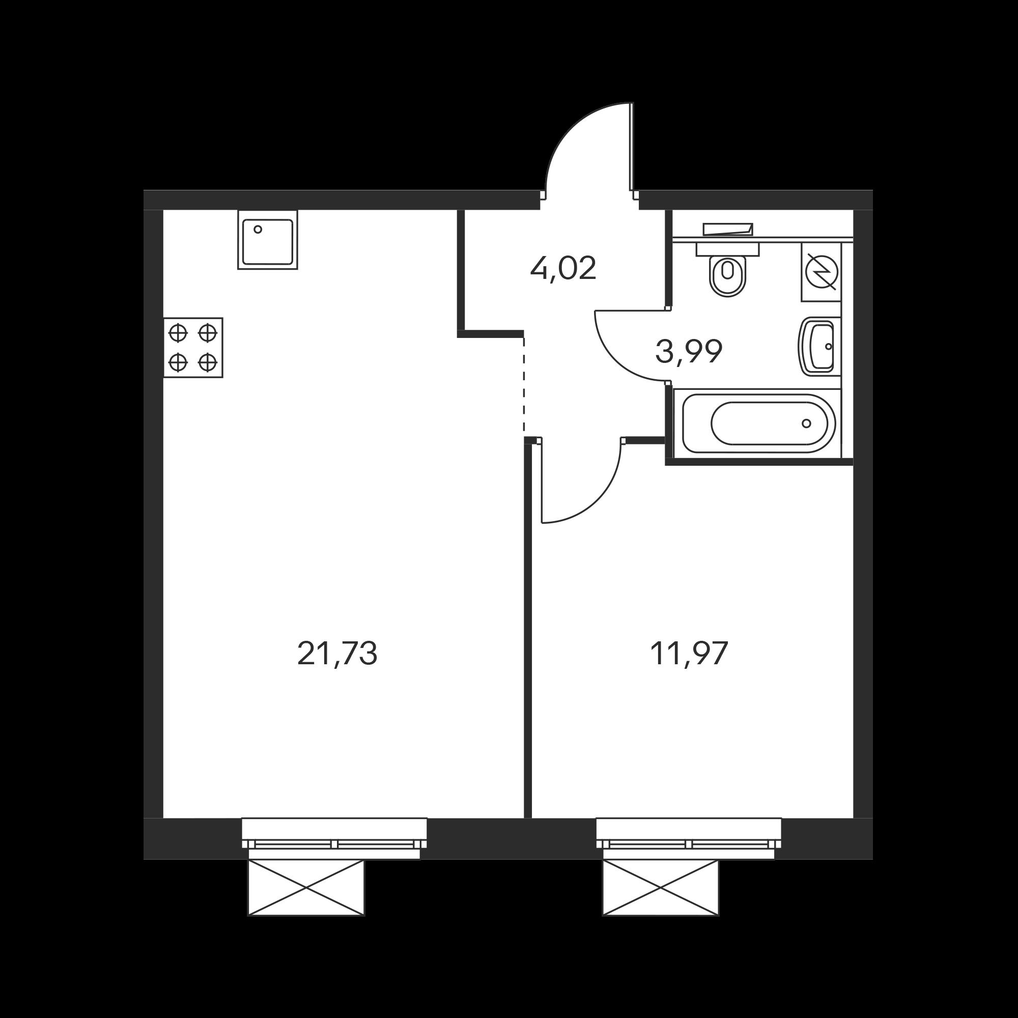 1-комнатная 41.71 м²