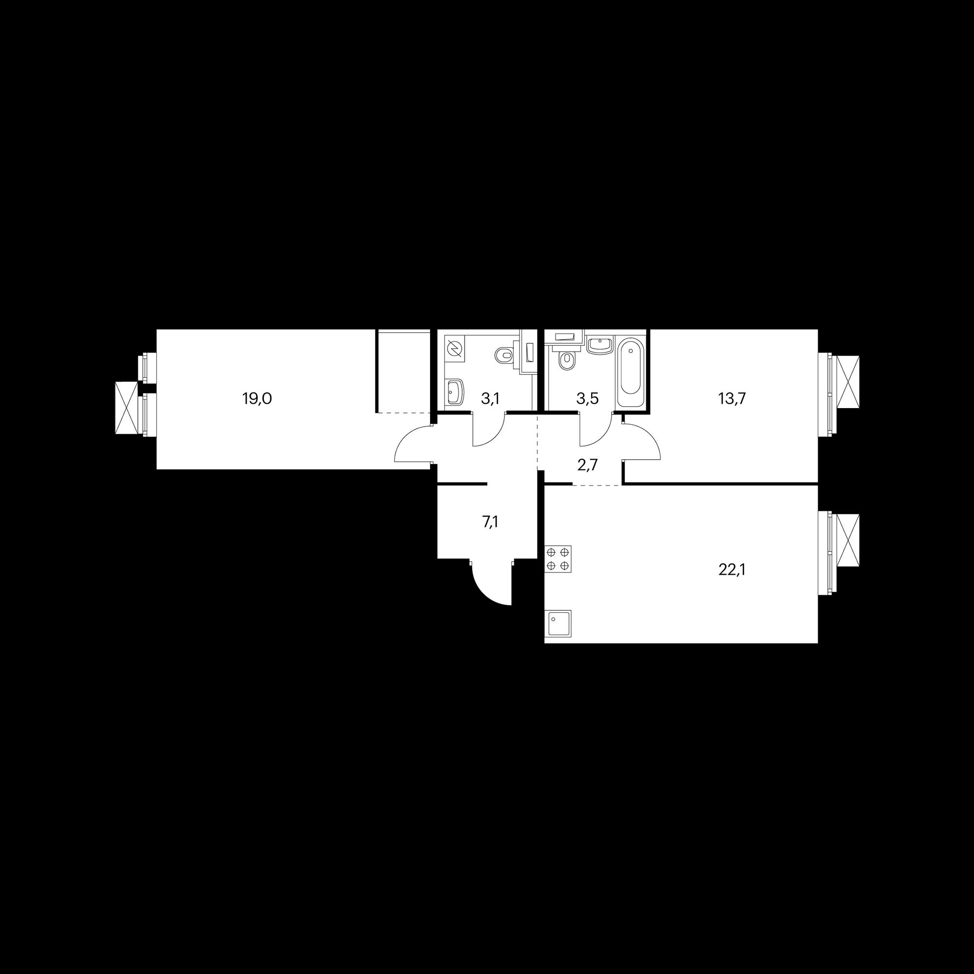 2-комнатная 71  м²