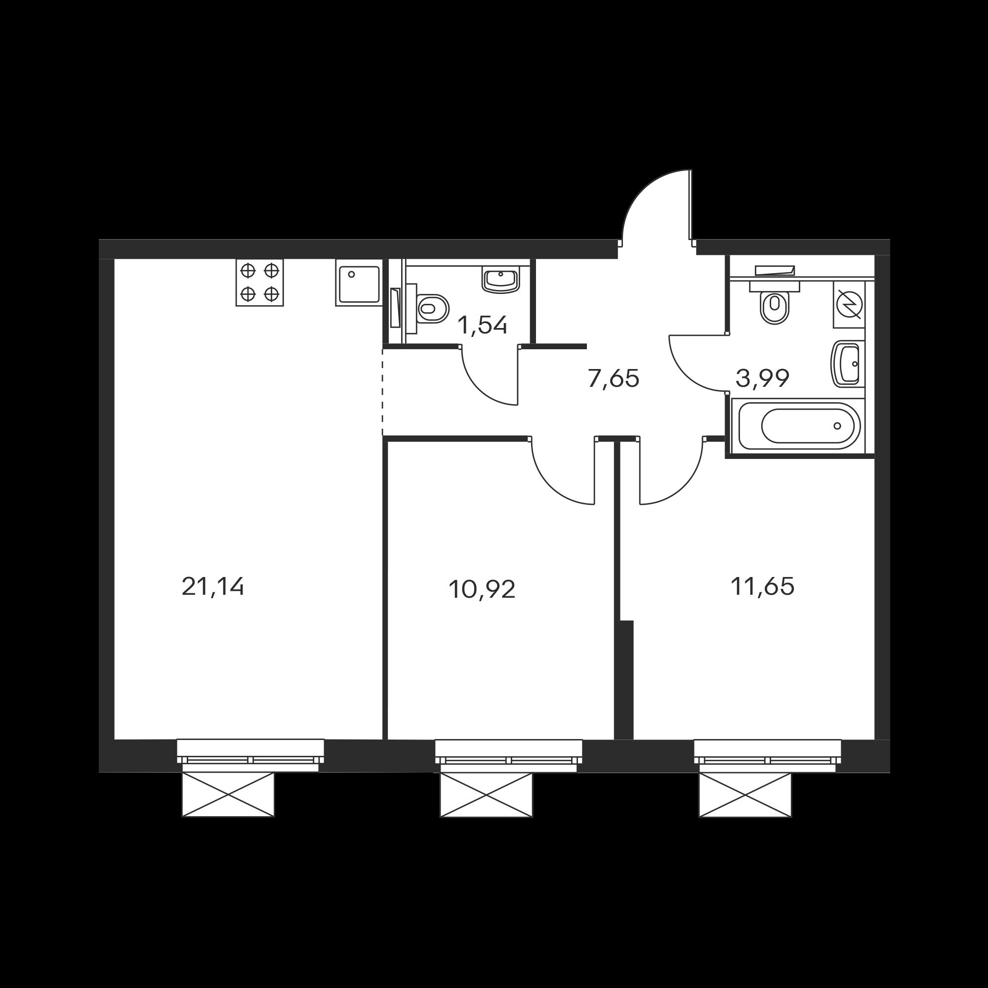 2-комнатная 56.87  м²