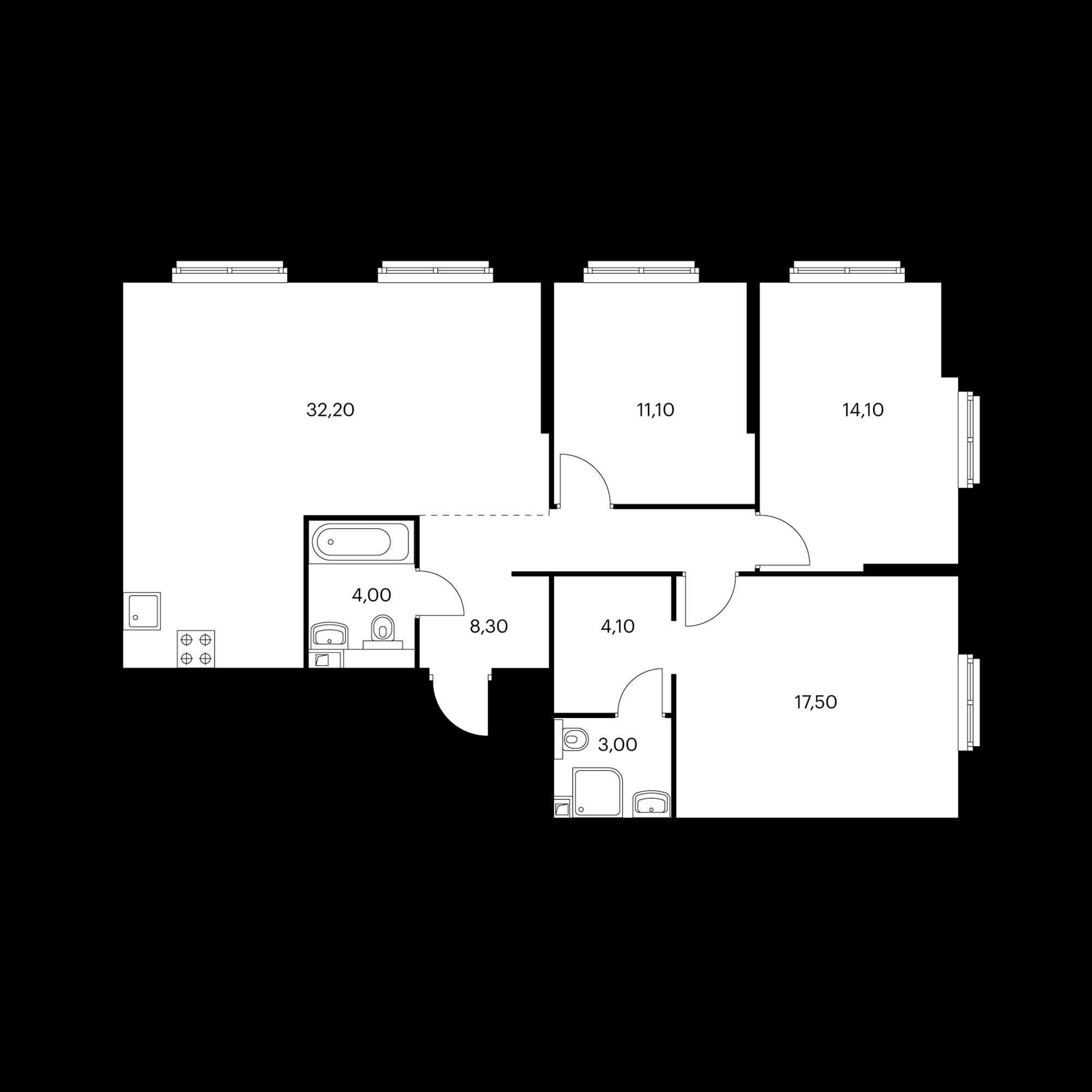 3-комнатная 94.3 м²