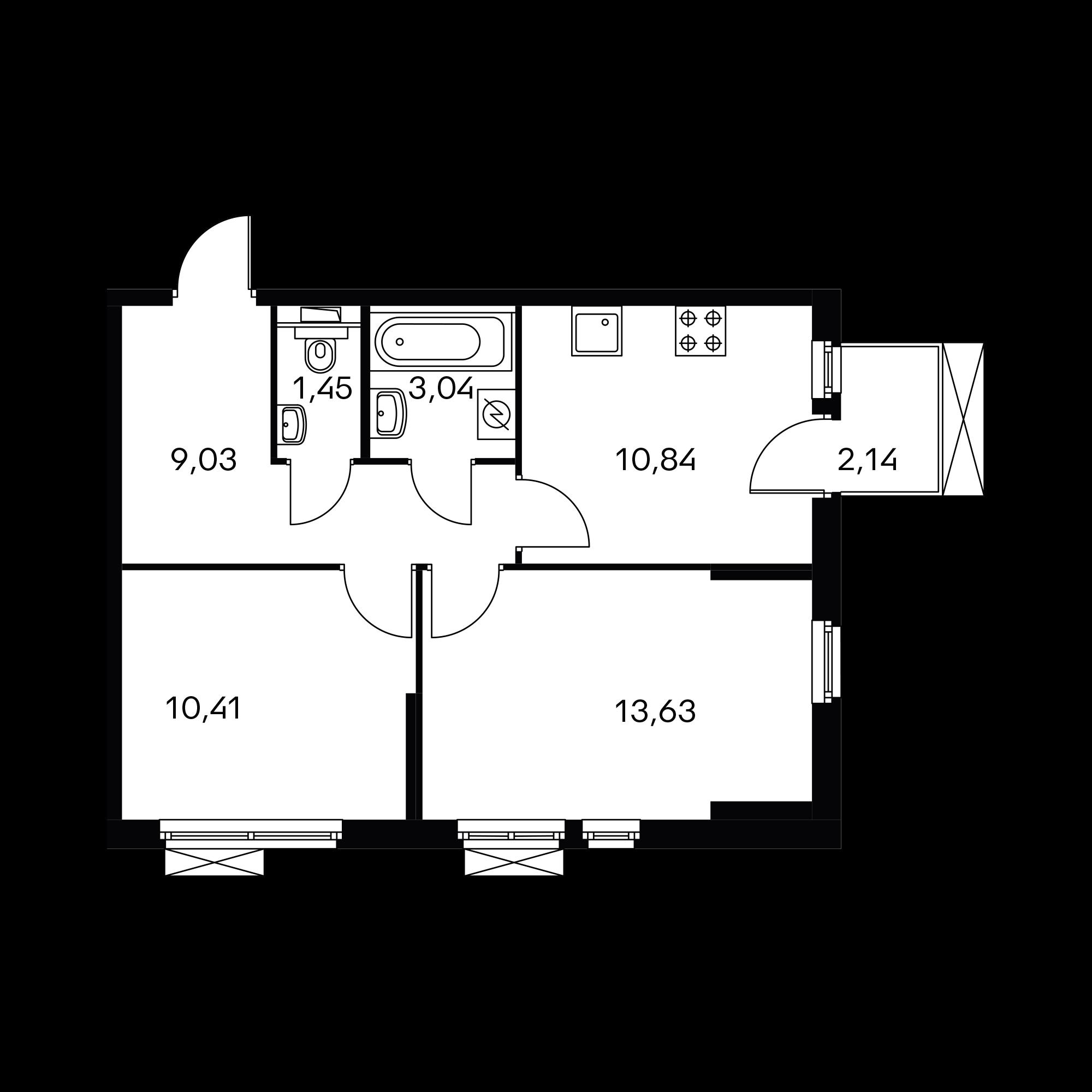2-комнатная 49.04  м²