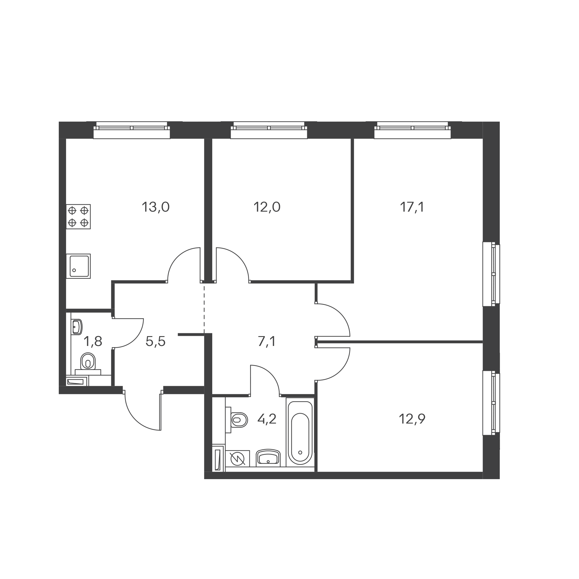 3-комнатная 72.9  м²