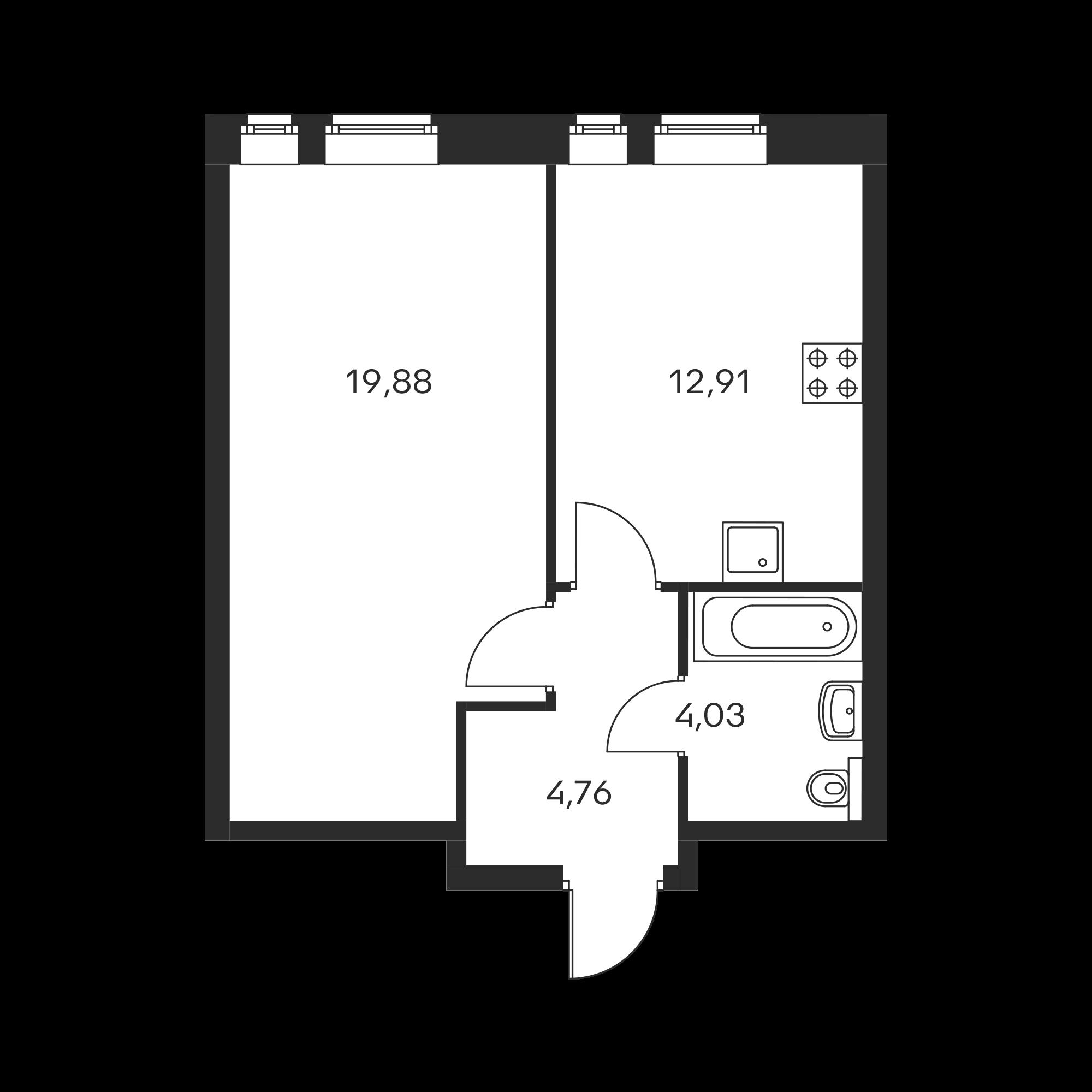 1-комнатная 41.58 м²