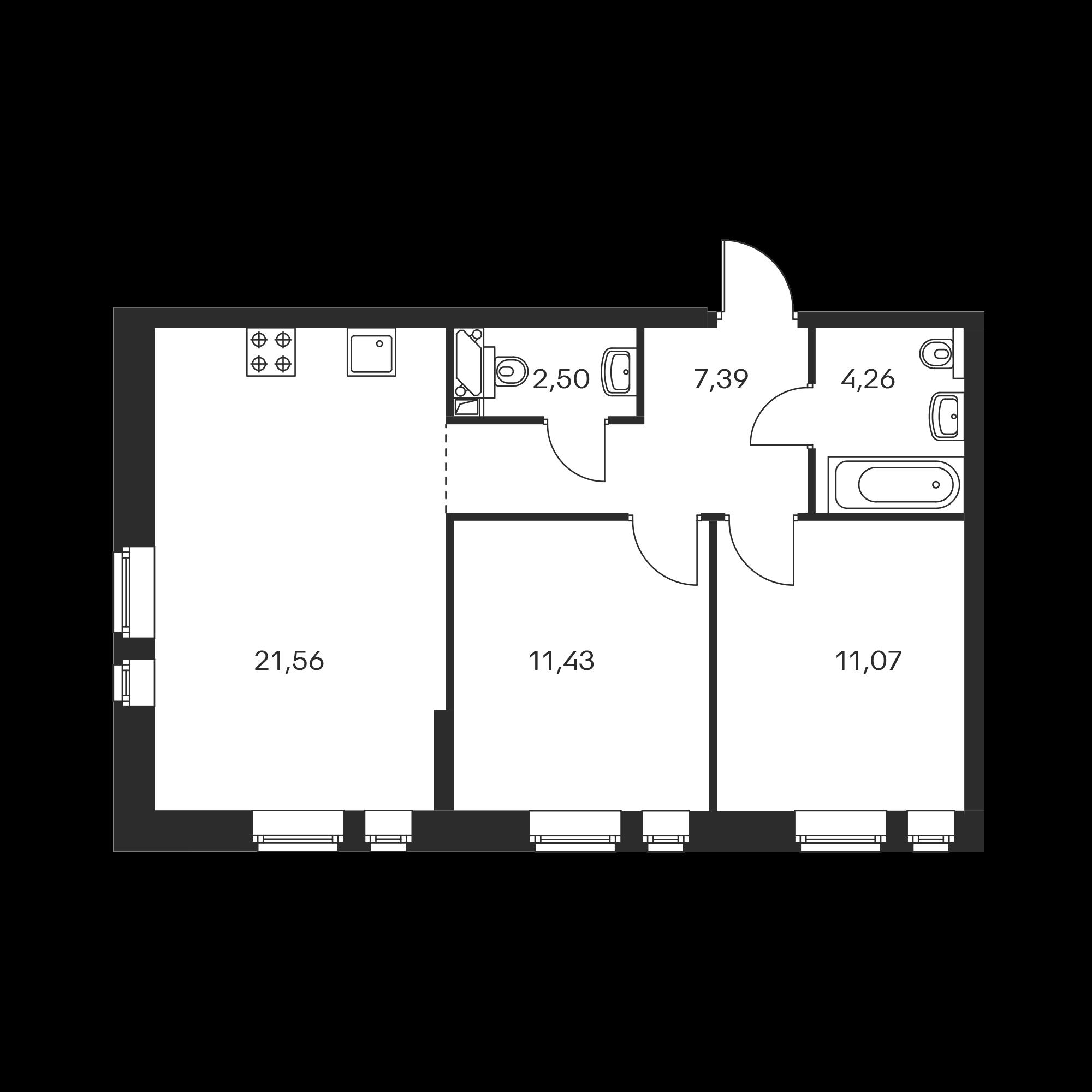 2-комнатная 58.21  м²