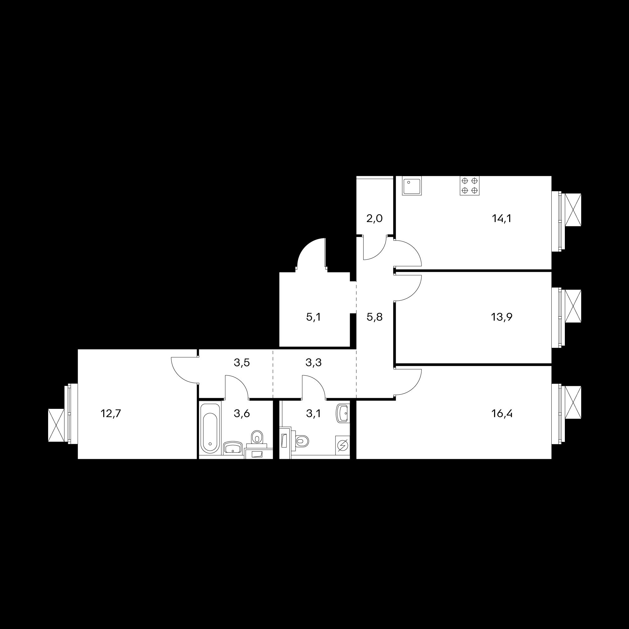 3-комнатная 83.7 м²
