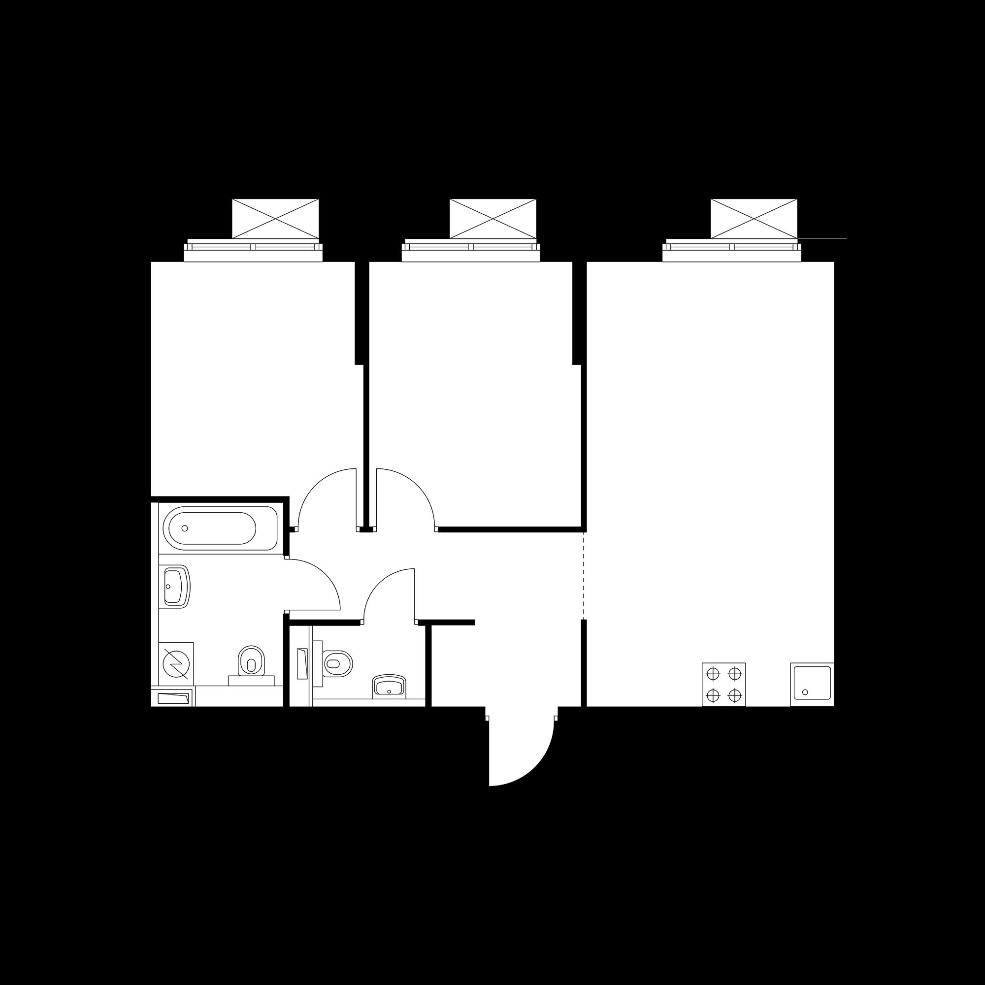 2-комнатная 54.54 м²