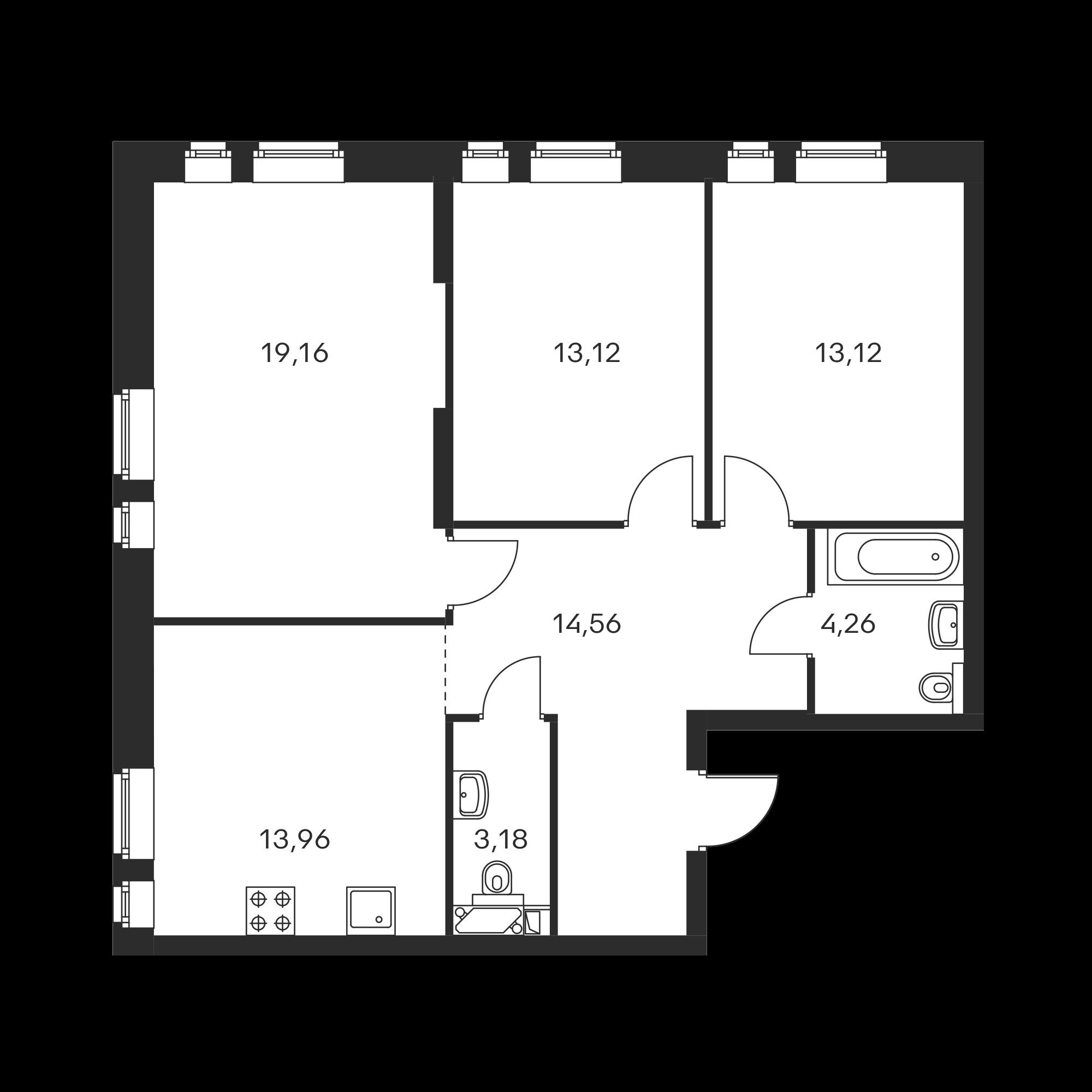 3-комнатная 81.36 м²