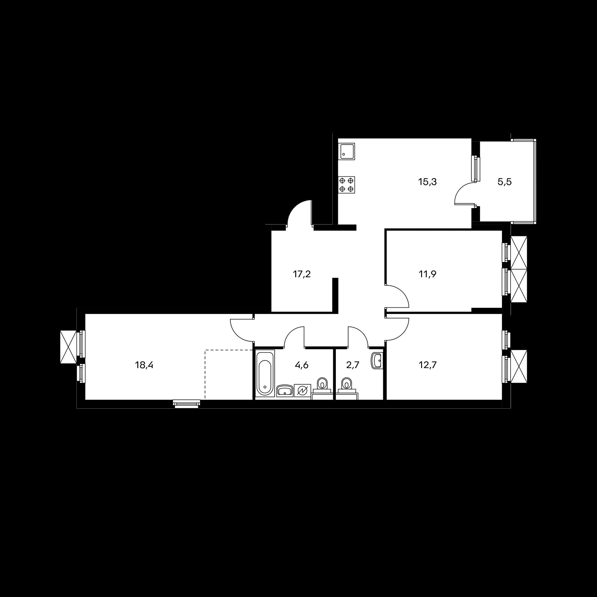 3-комнатная 85.6 м²