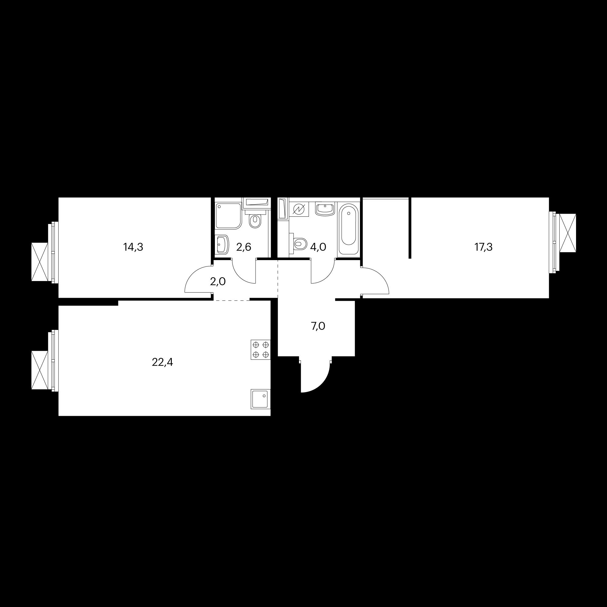 2-комнатная 70.4 м²