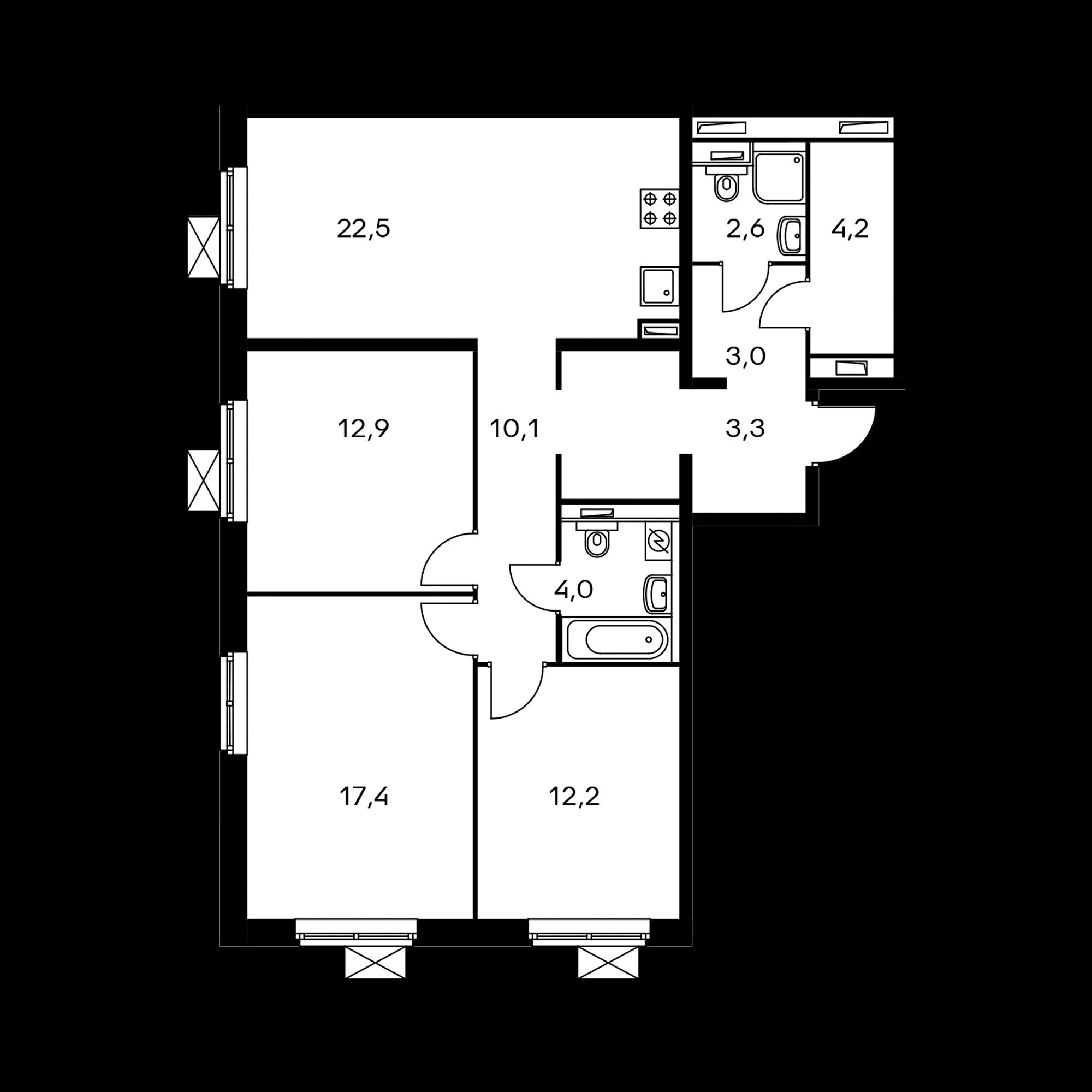 3-комнатная 92.2 м²