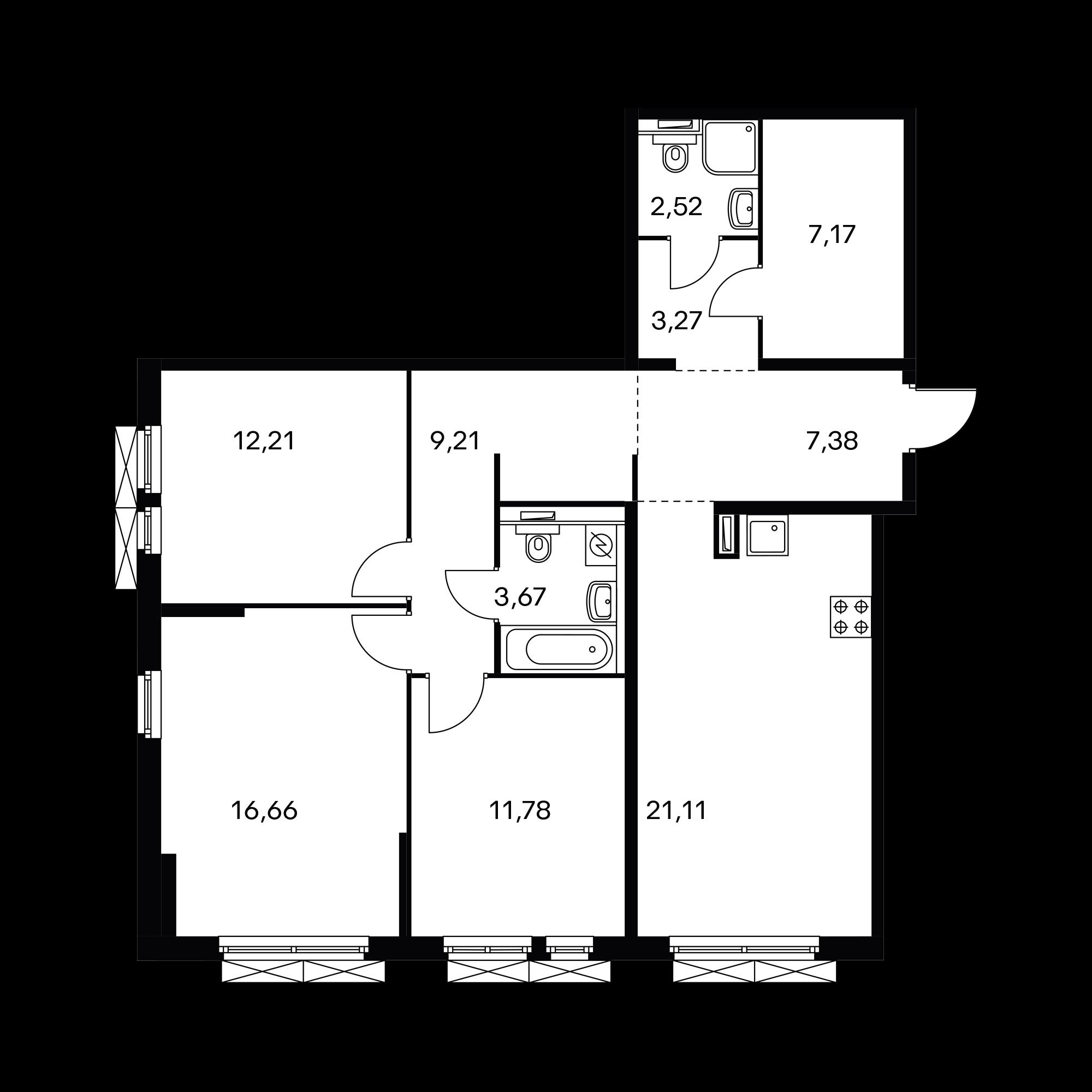 3-комнатная 94.98  м²