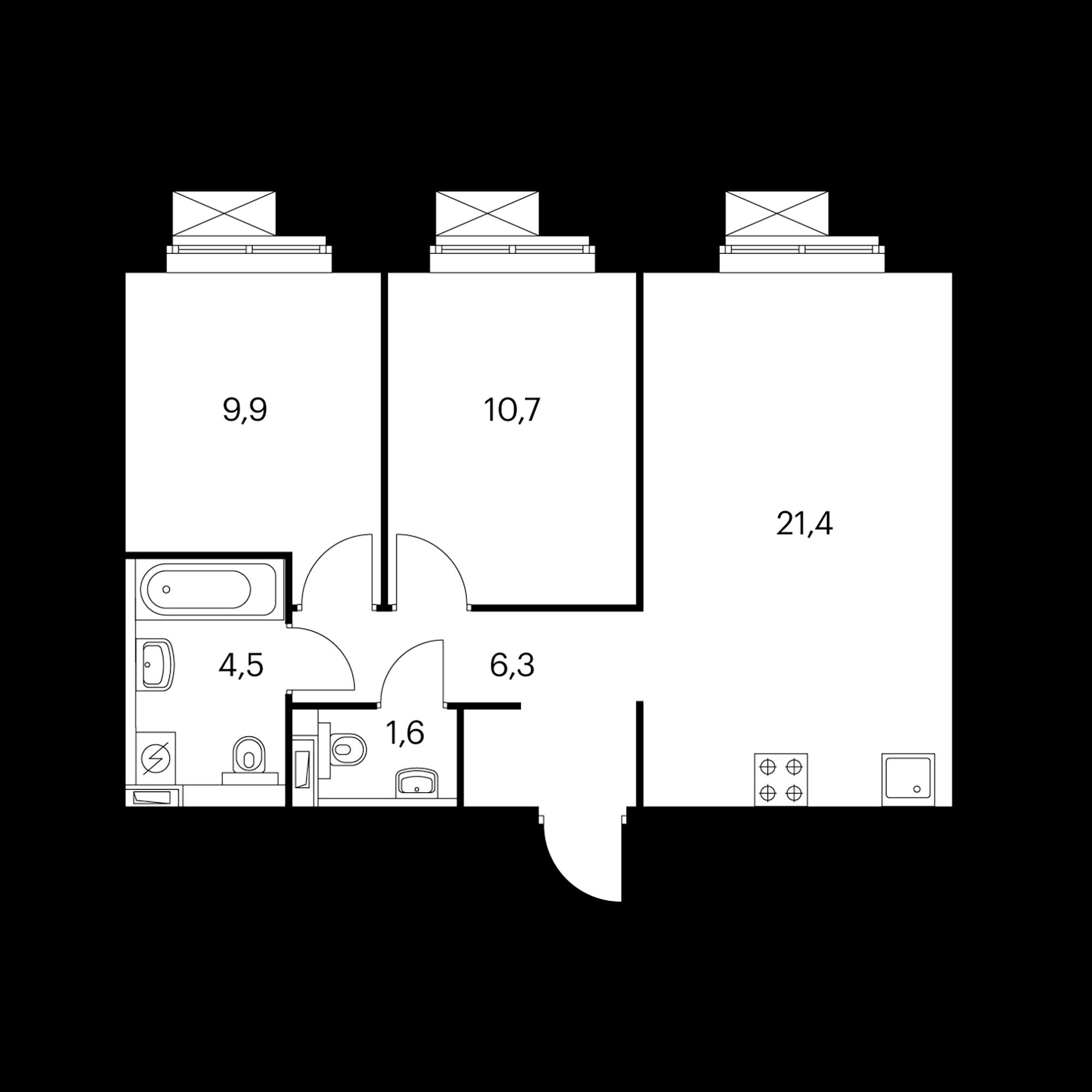 2-комнатная 54.4 м²