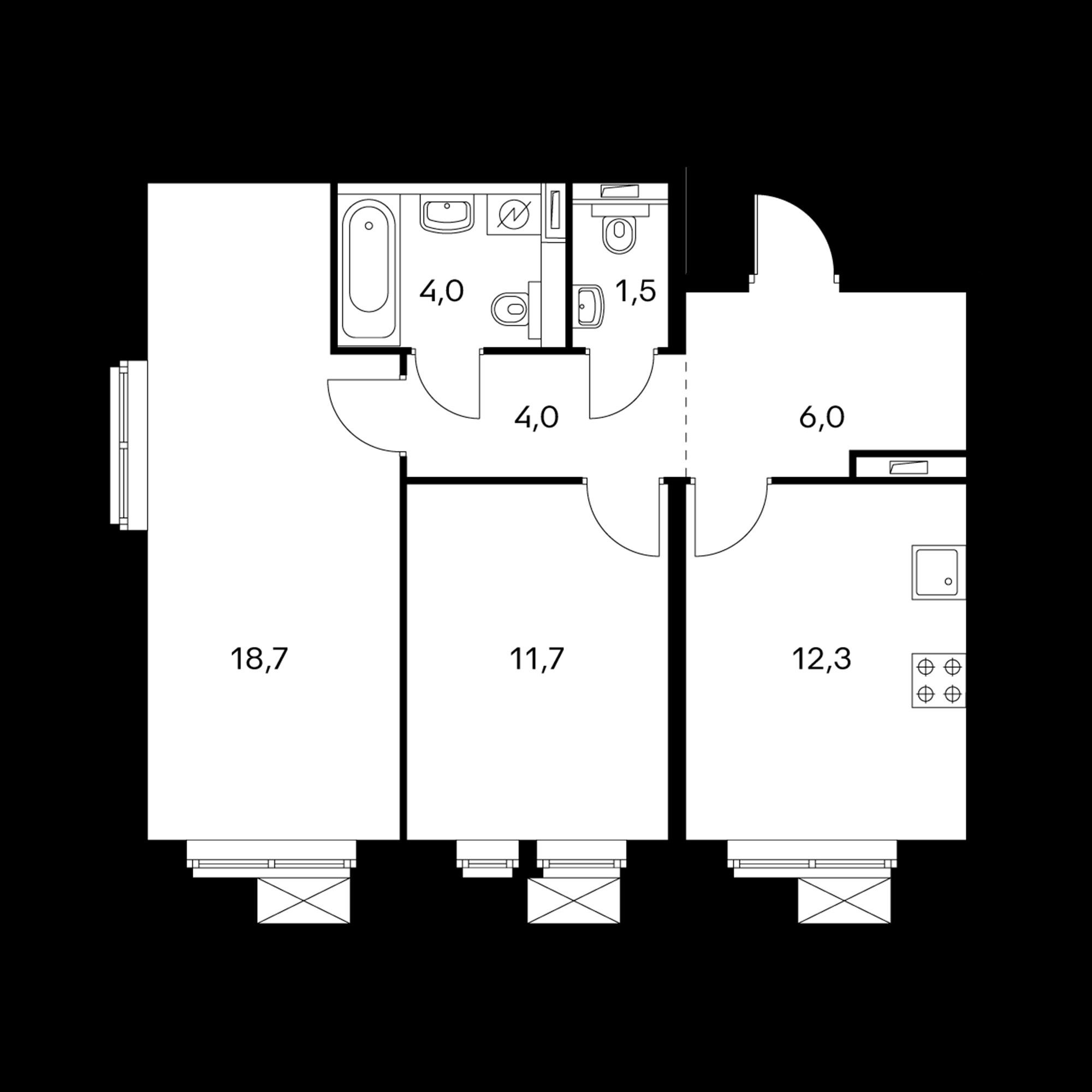 2-комнатная 58.2  м²