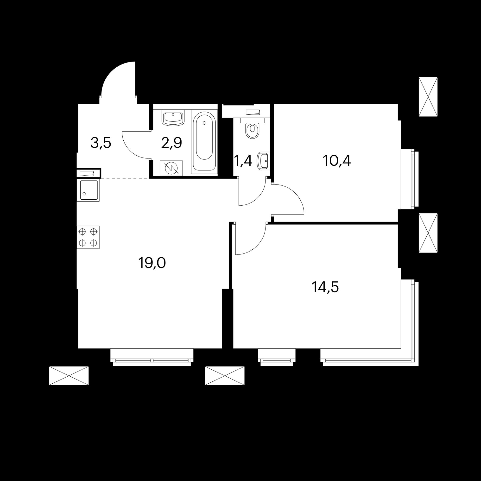 2-комнатные 51.7 м²
