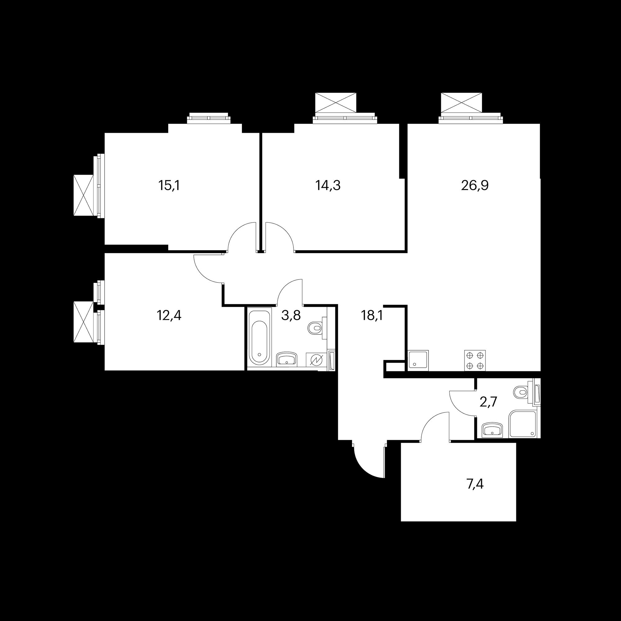 3-комнатная 100.8 м²