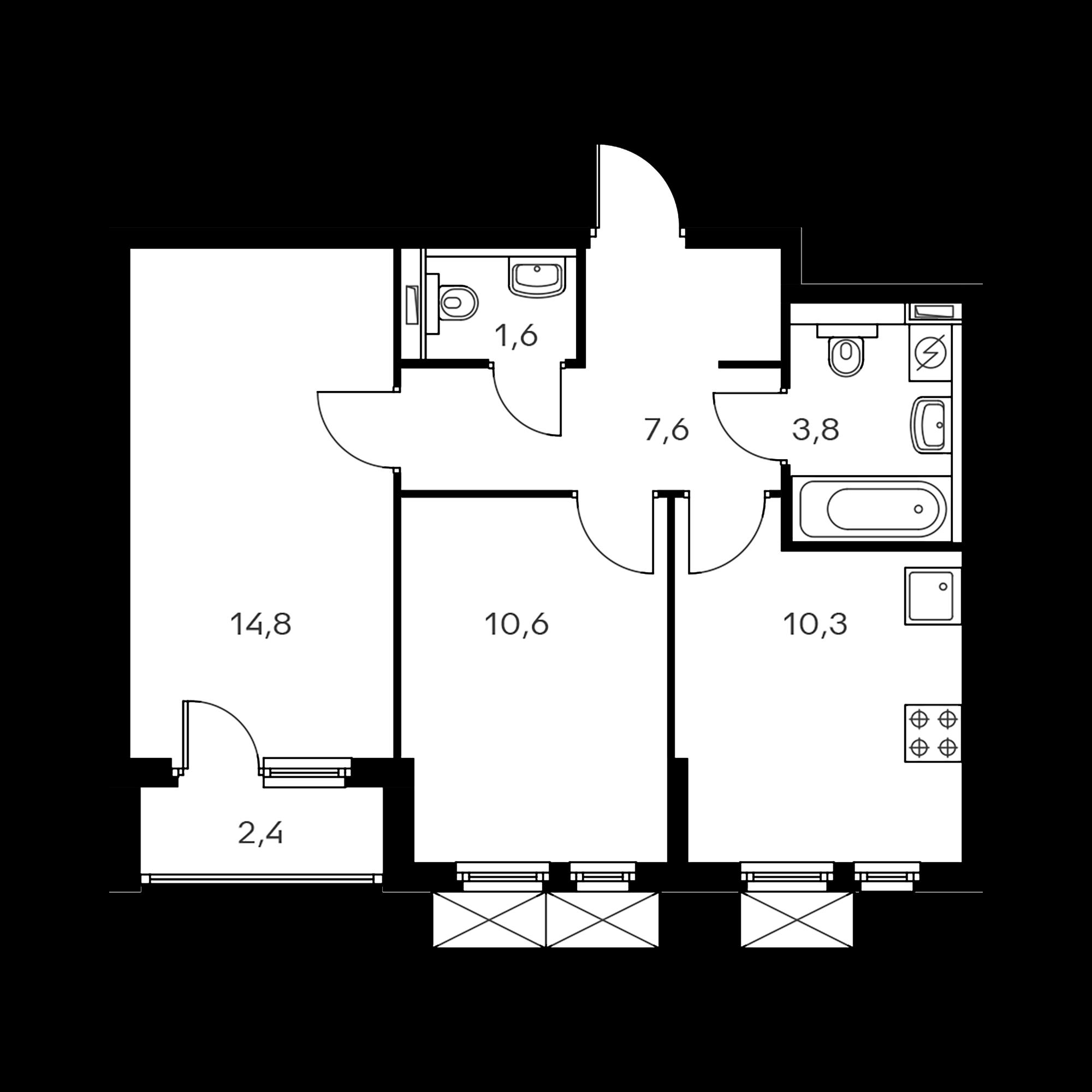 2-комнатная 49.9 м²
