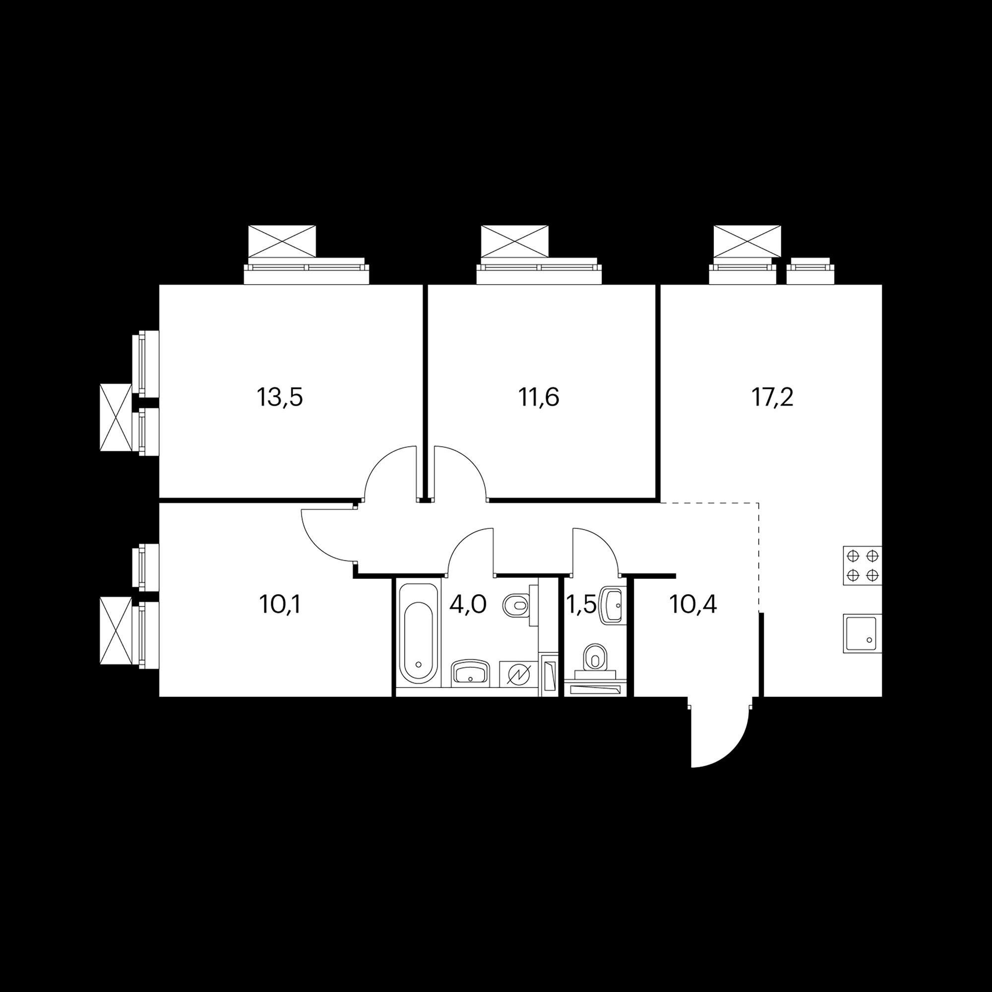3-комнатная 68.3 м²