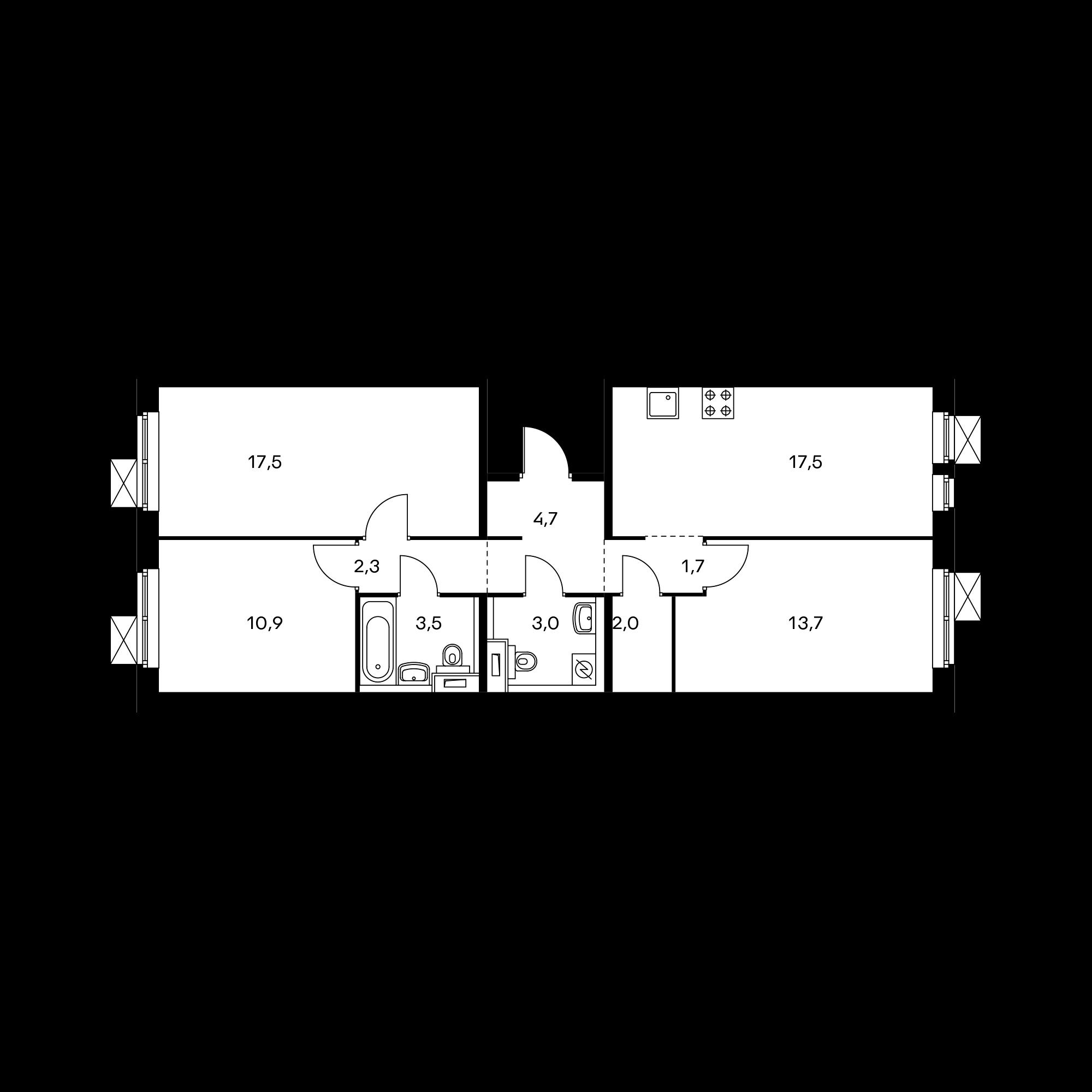 3-комнатная 76.8  м²