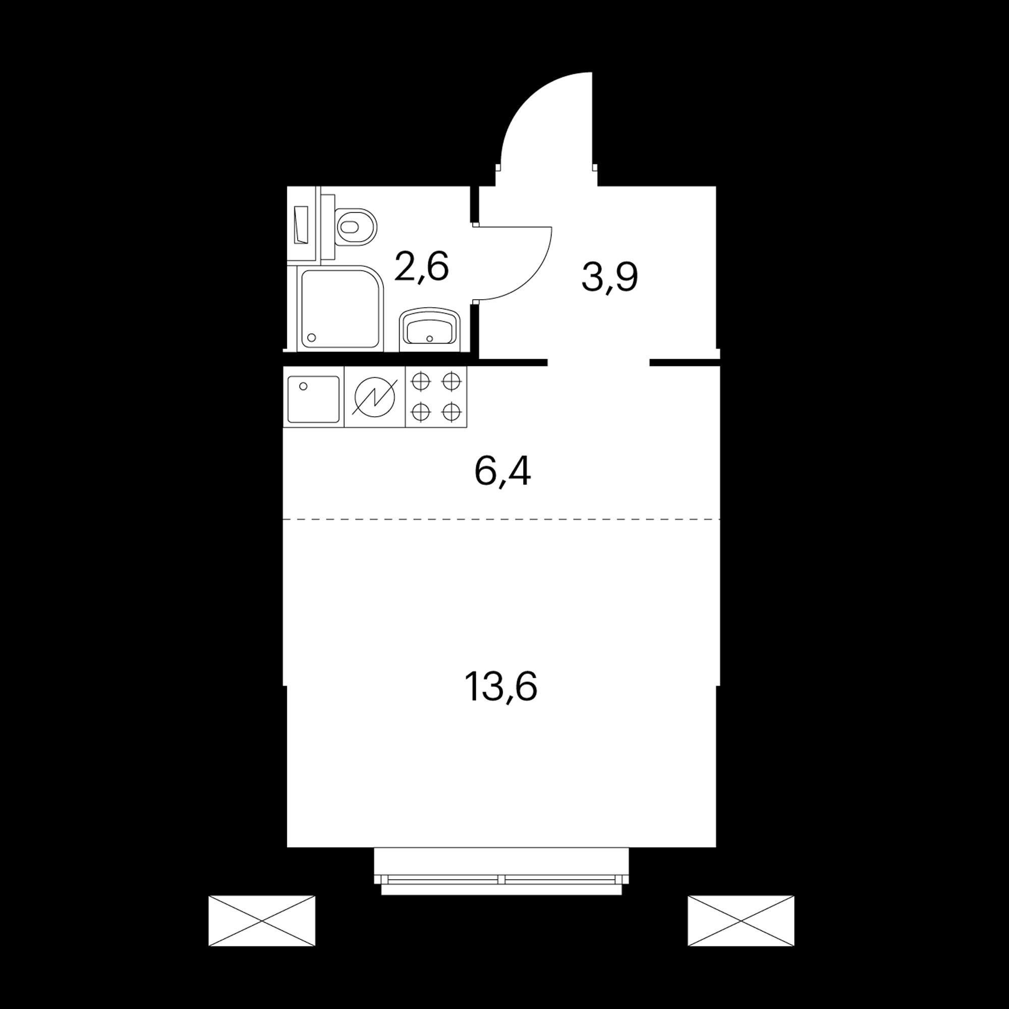 Студия 26.5  м²