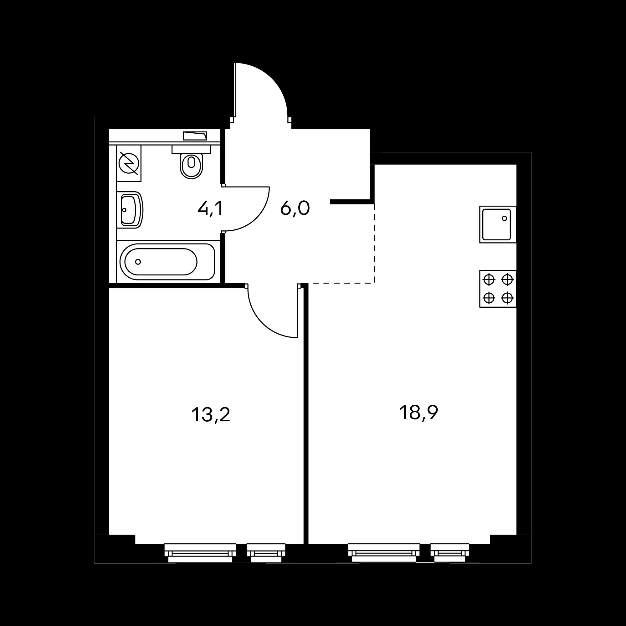 1-комнатная 42.4  м²