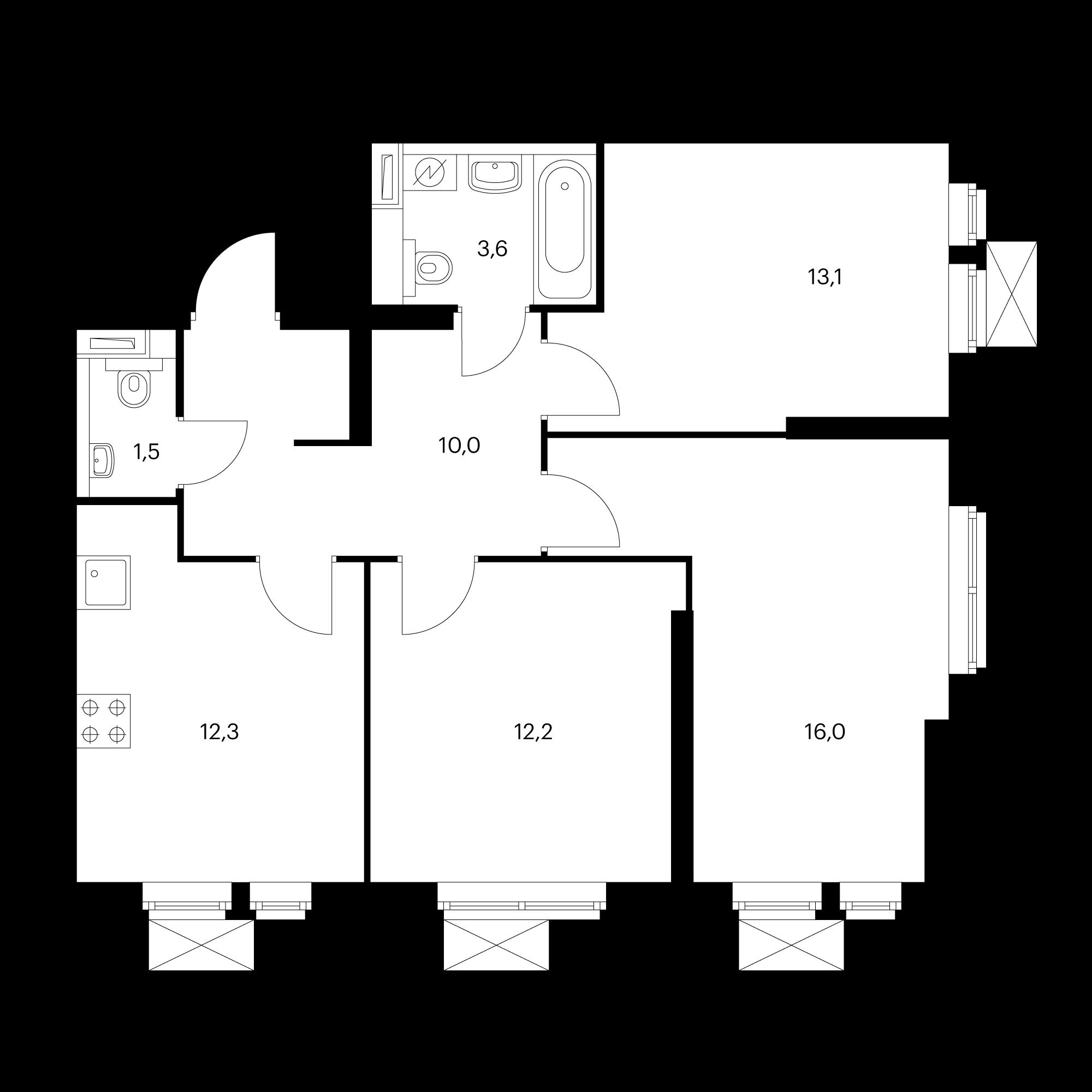3-комнатная 68.7 м²