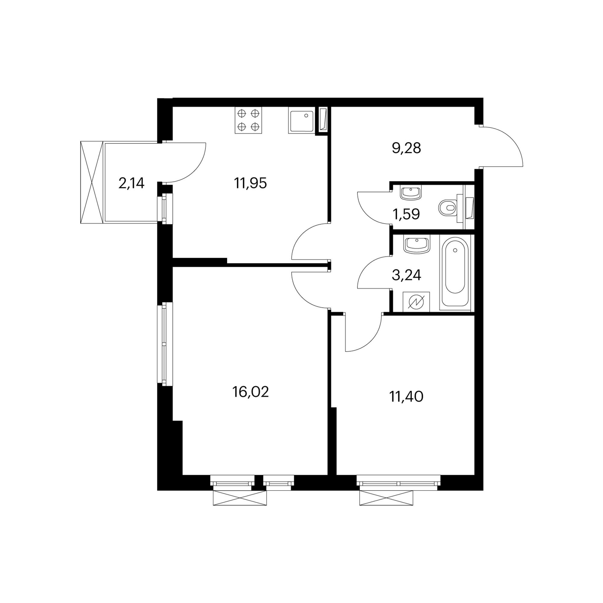 2-комнатная 54.12 м²