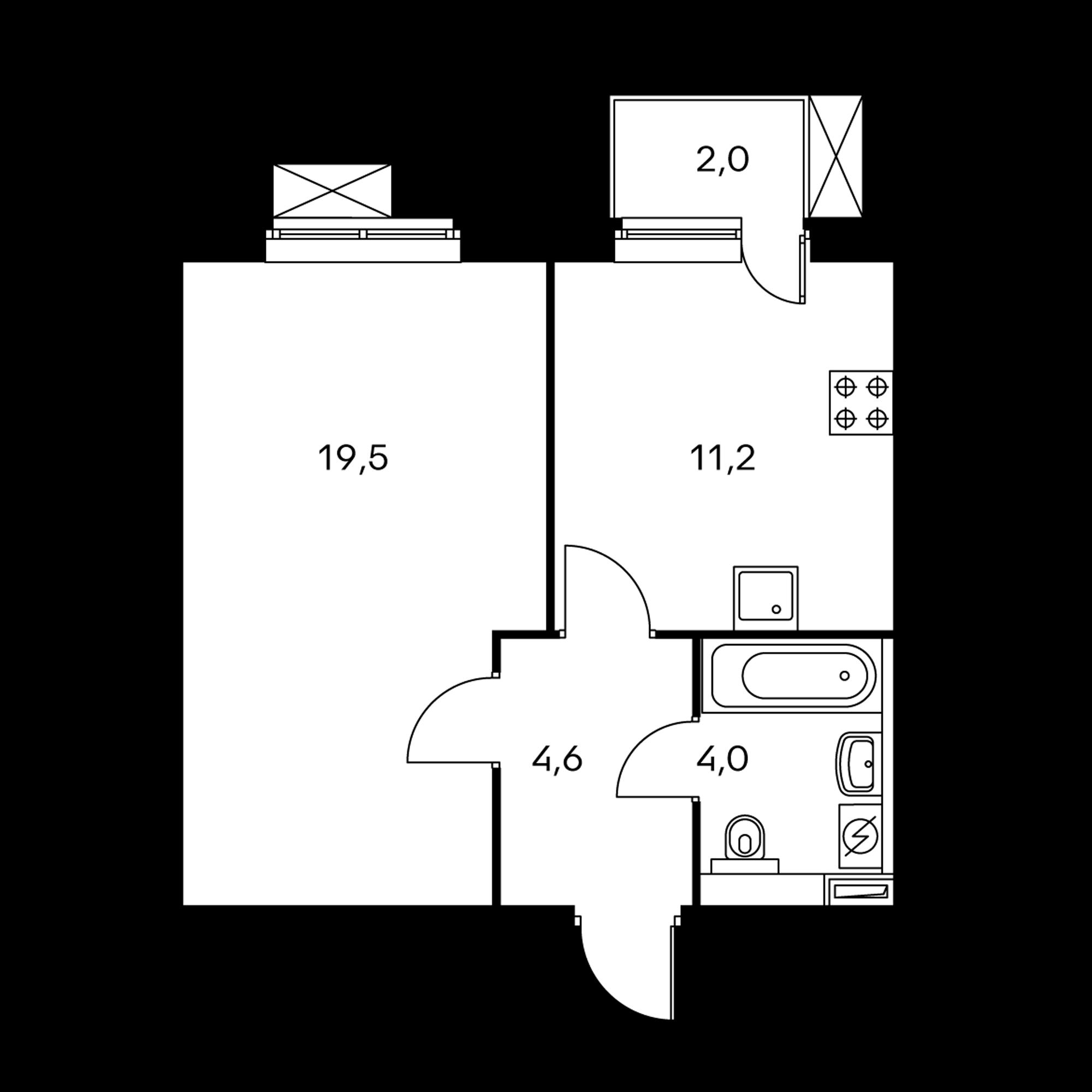 1-комнатная 39.9  м²