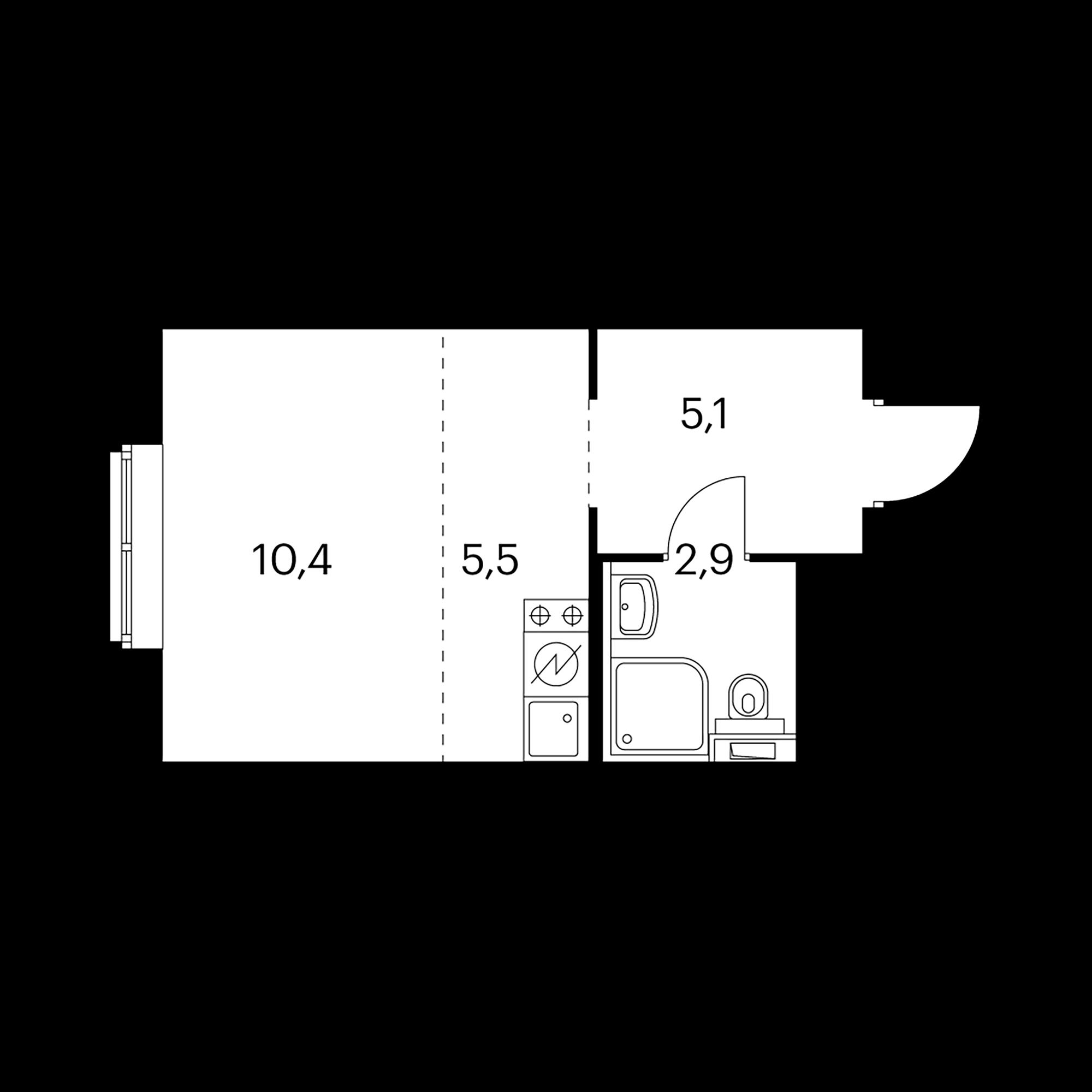 Студия 23.9  м²
