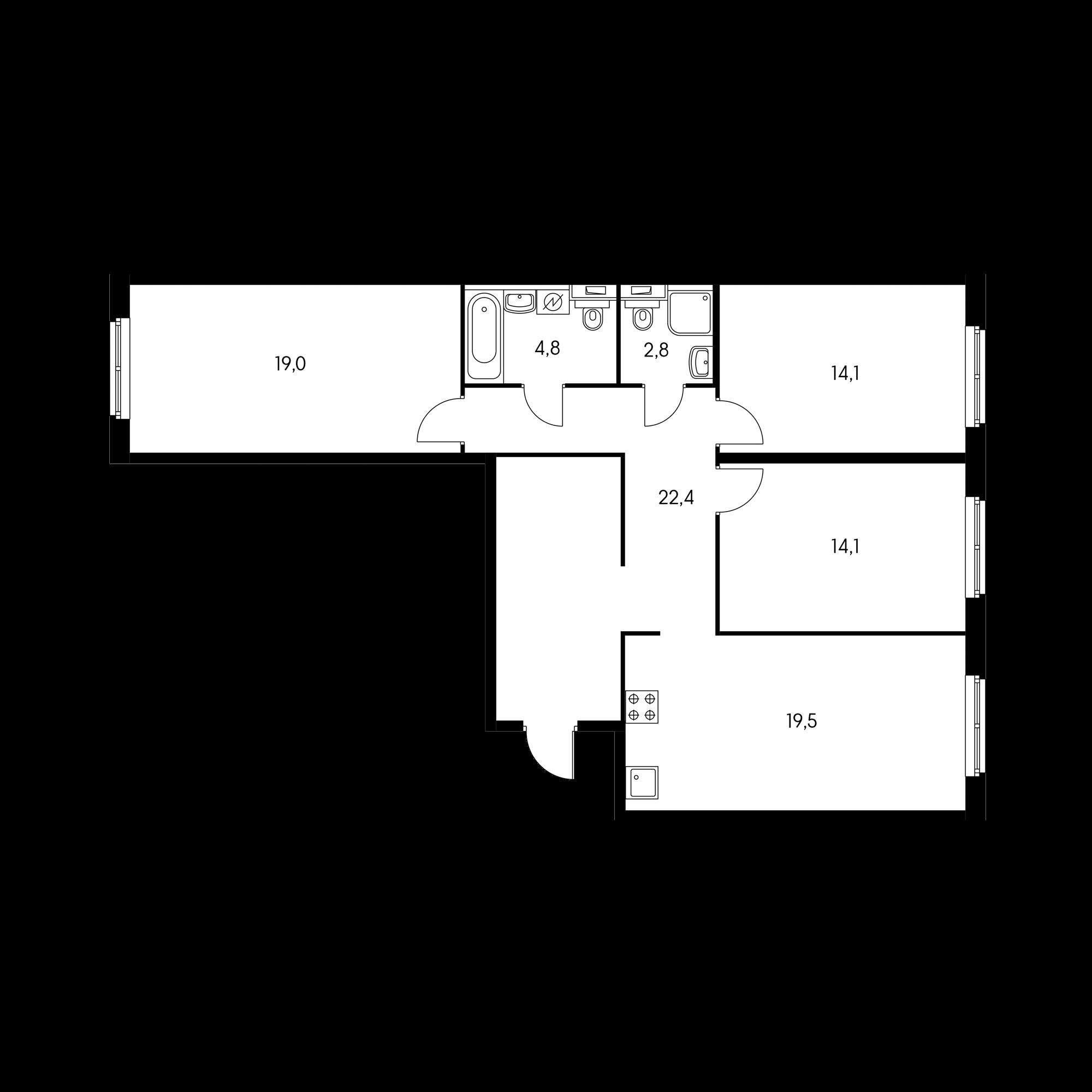 3-комнатная 96.7 м²