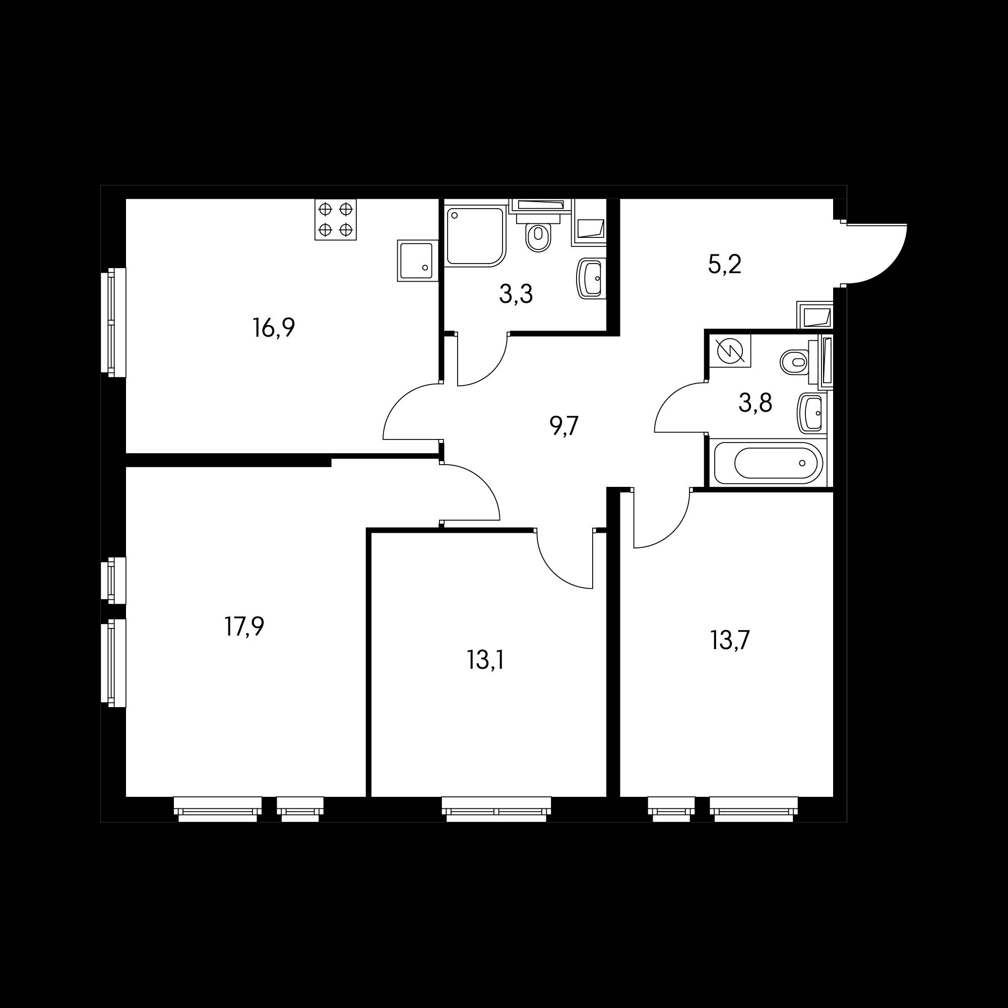 3-комнатная 84  м²
