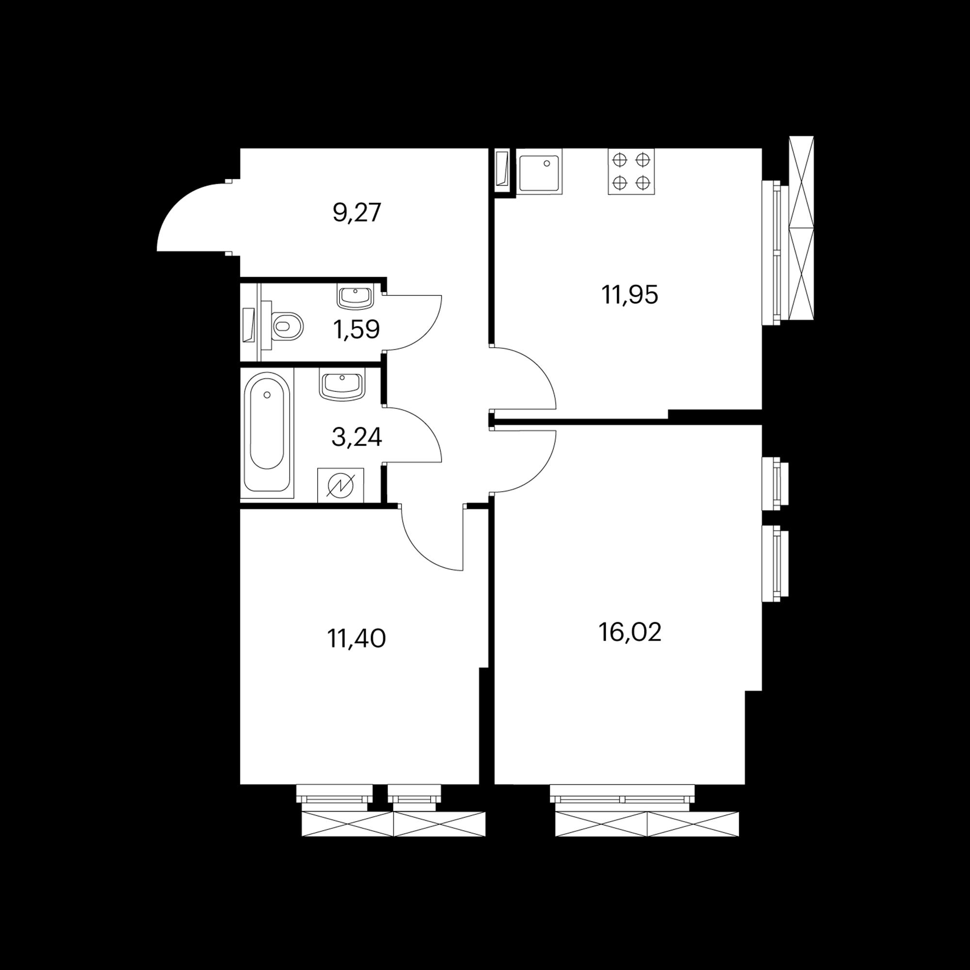 2-комнатная 53.47 м²