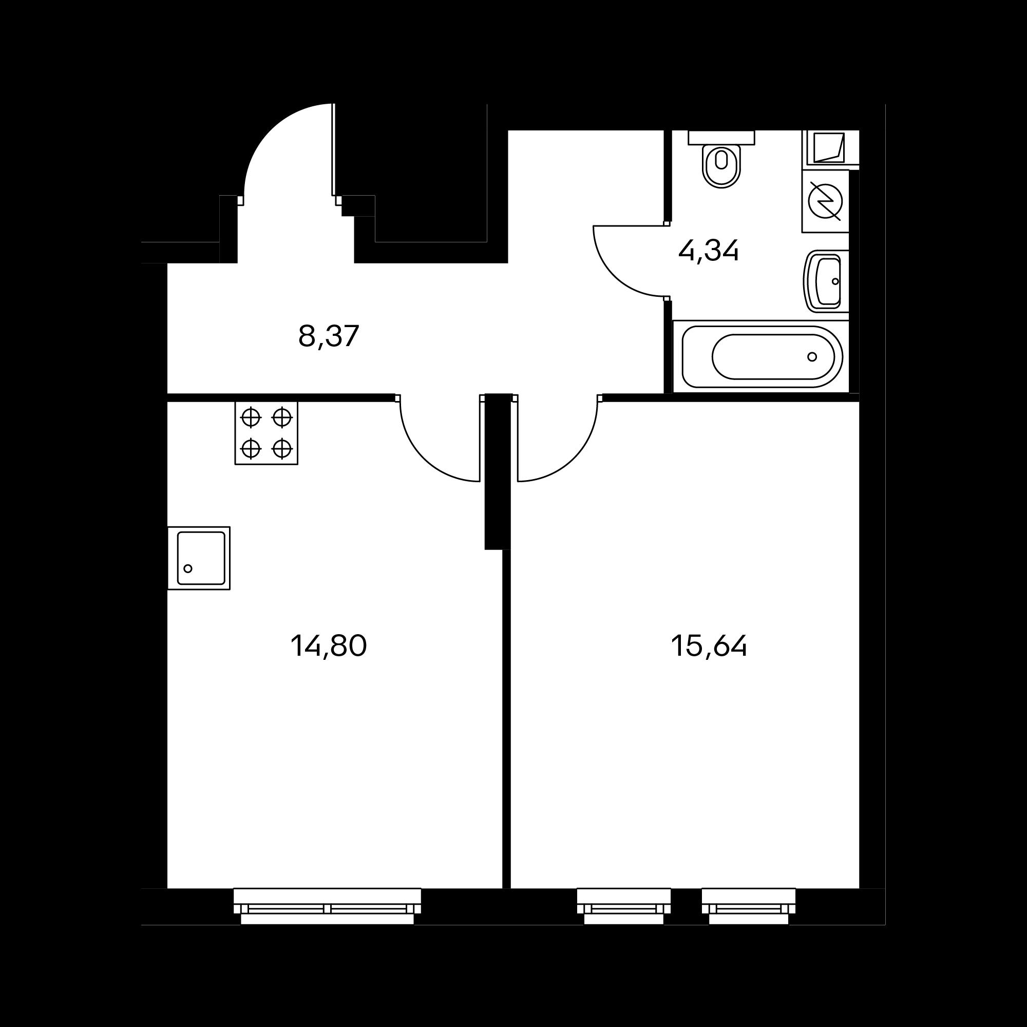 1-комнатная 43.21  м²