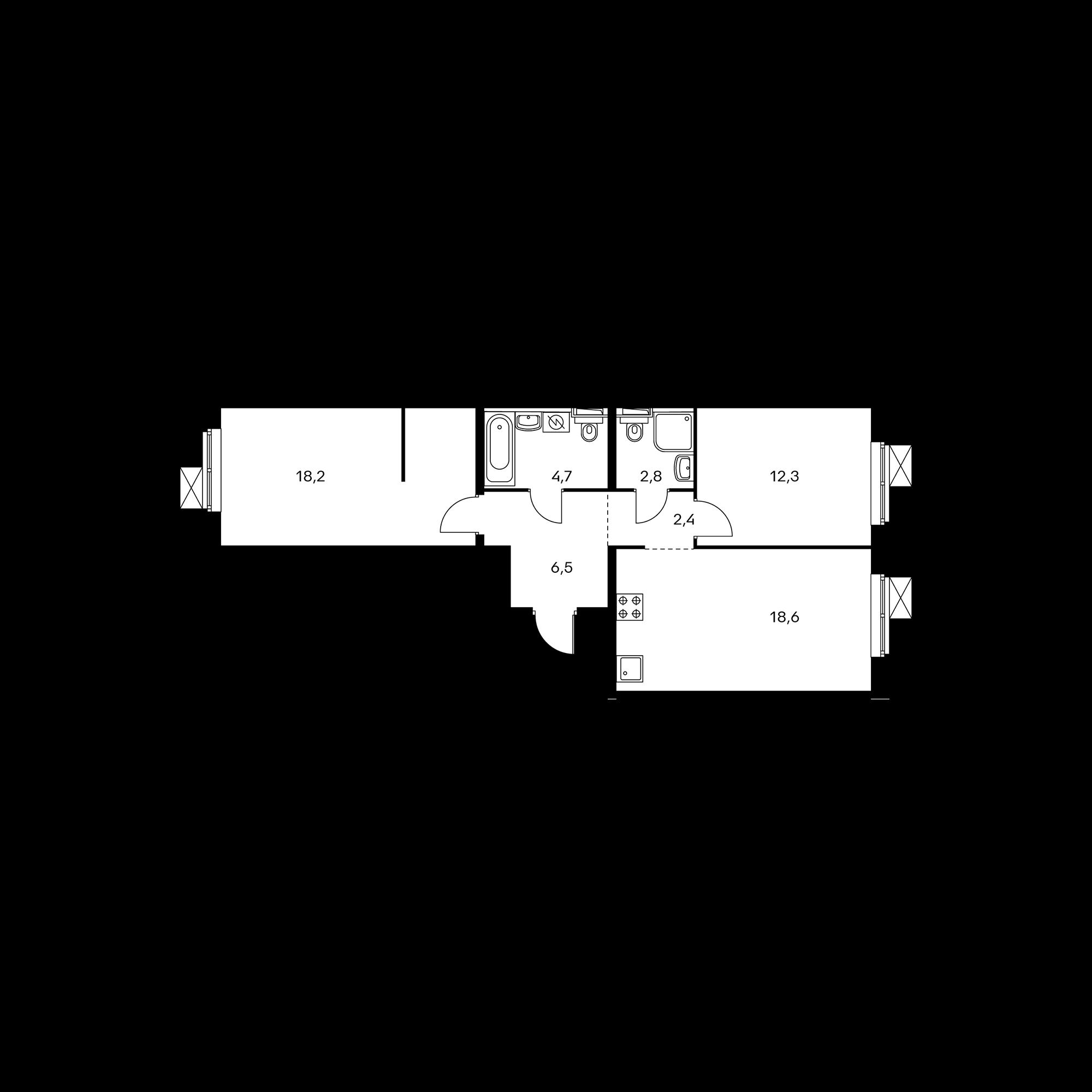 2-комнатная 65.5  м²